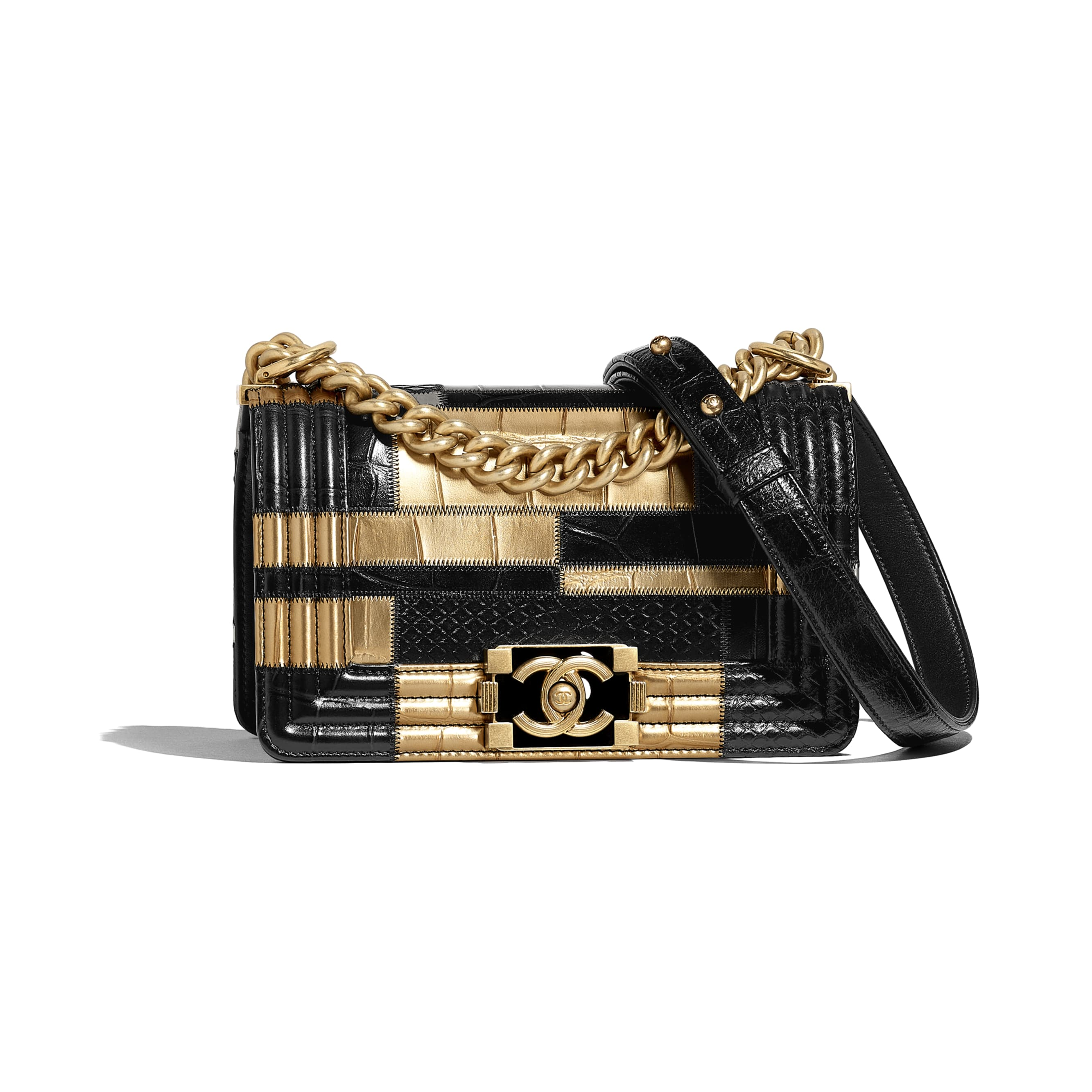 Small BOY CHANEL Handbag - Black & Gold - Crocodile Embossed Calfskin, Python Embossed Calfskin & Gold-Tone Metal - Default view - see standard sized version