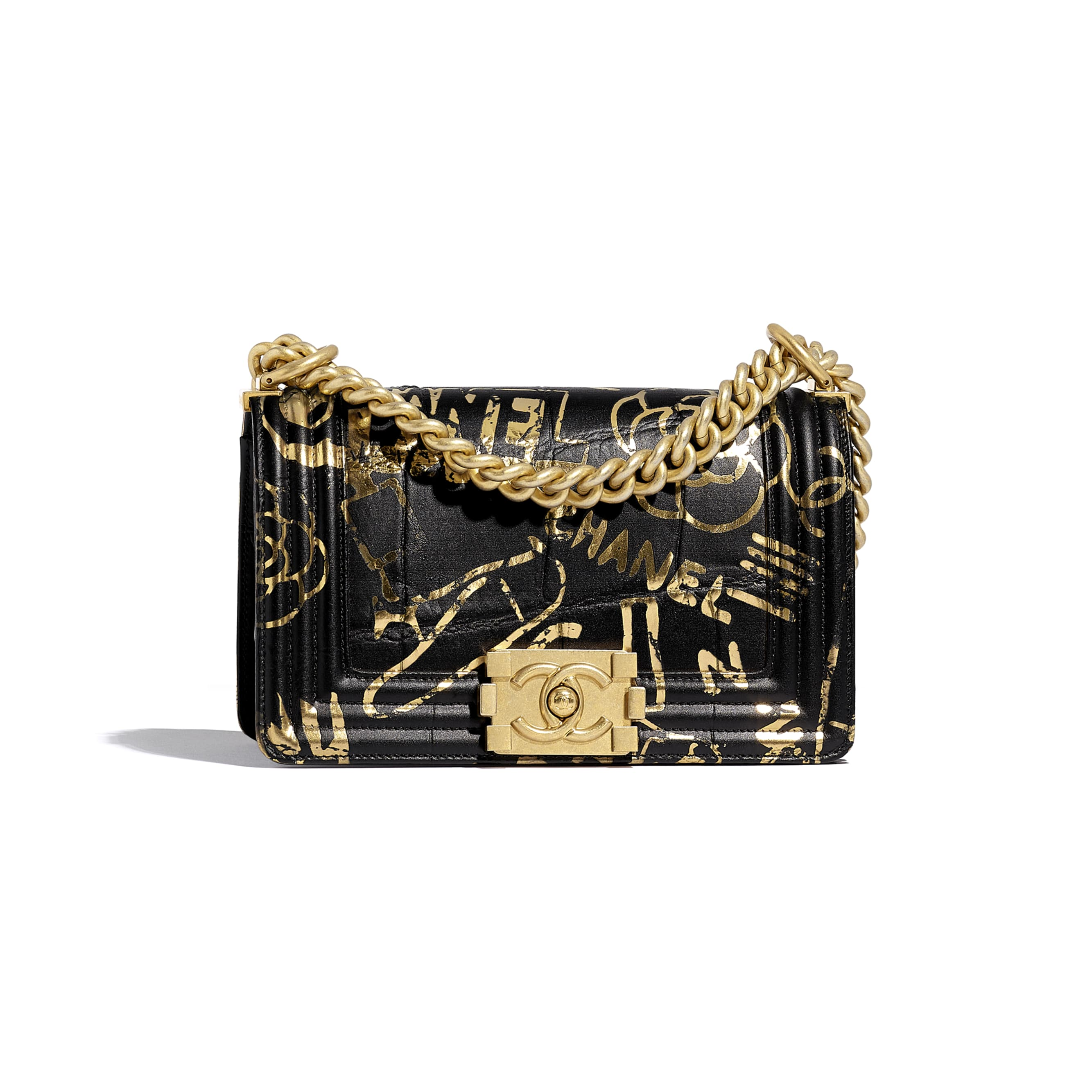 Small BOY CHANEL Handbag - Black & Gold - Crocodile Embossed Printed Leather & Gold-Tone Metal - Default view - see standard sized version
