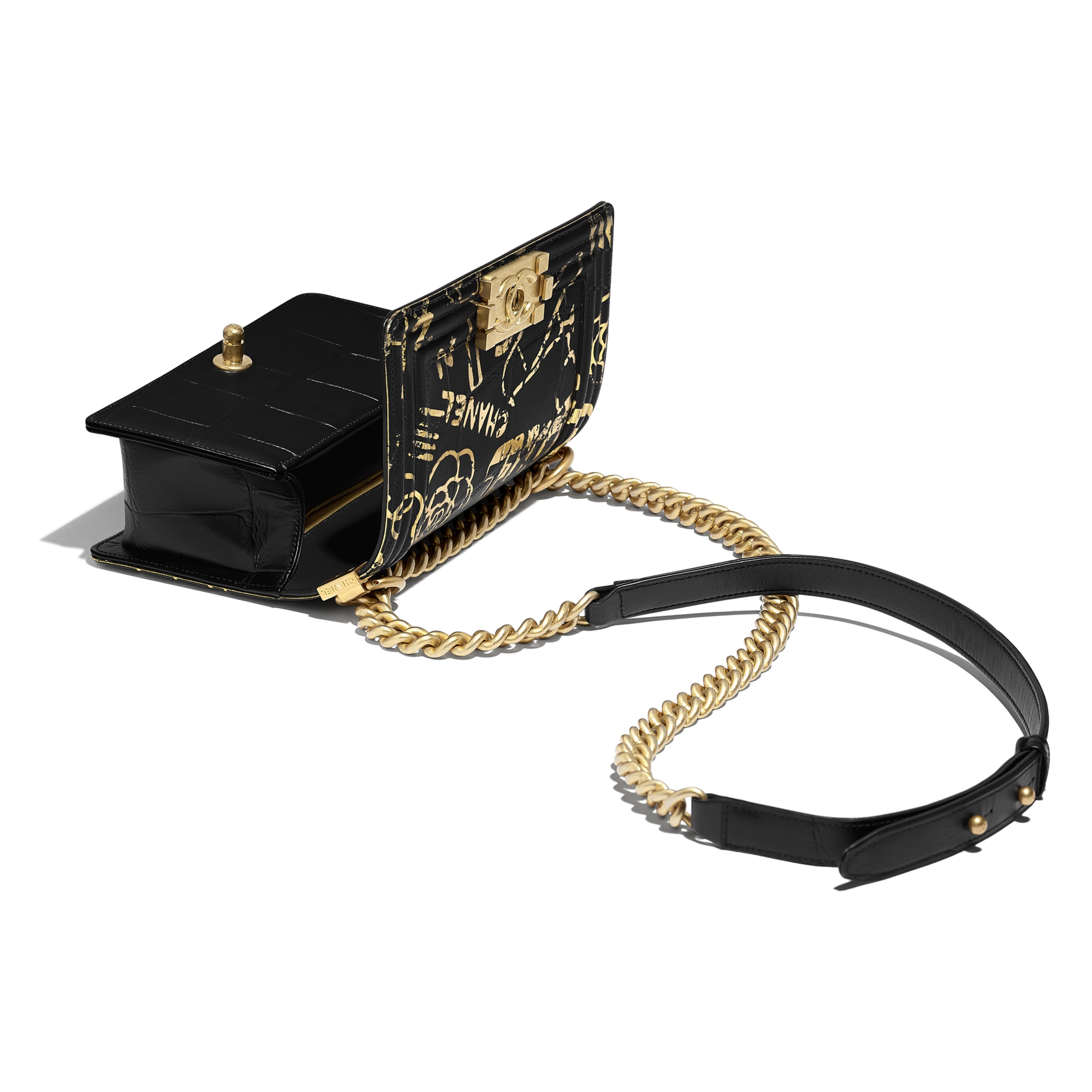 Small BOY CHANEL Handbag - Black & Gold - Crocodile Embossed Printed Leather & Gold-Tone Metal - Other view - see standard sized version