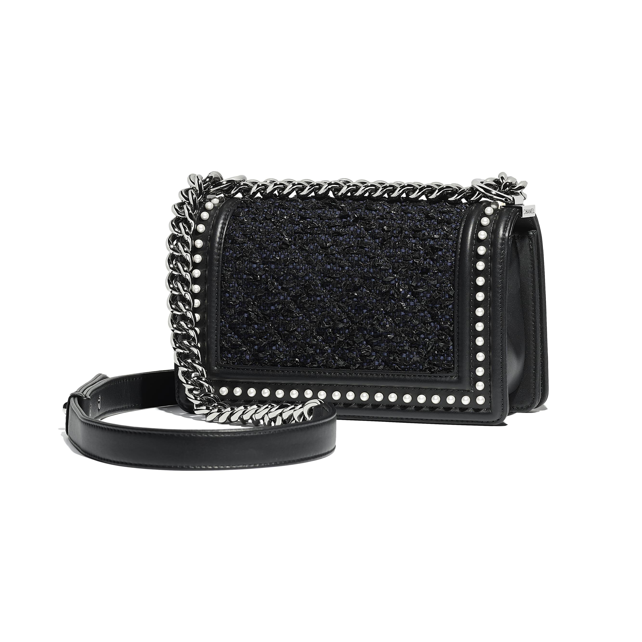 Small BOY CHANEL Handbag - Black & Navy Blue - Tweed, Calfskin, Imitation Pearls & Ruthenium-Finish Metal - Alternative view - see standard sized version