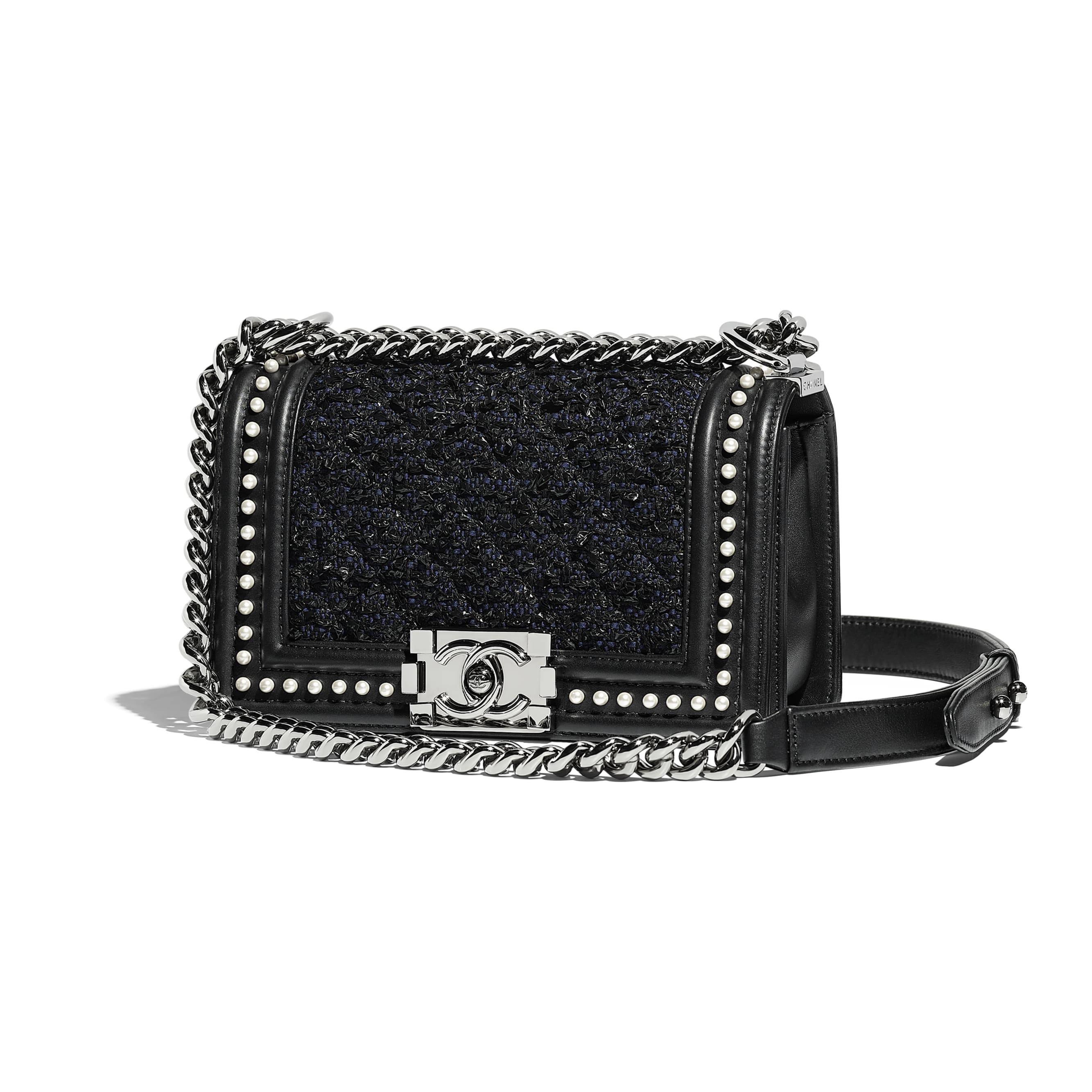 Small BOY CHANEL Handbag - Black & Navy Blue - Tweed, Calfskin, Imitation Pearls & Ruthenium-Finish Metal - Default view - see standard sized version