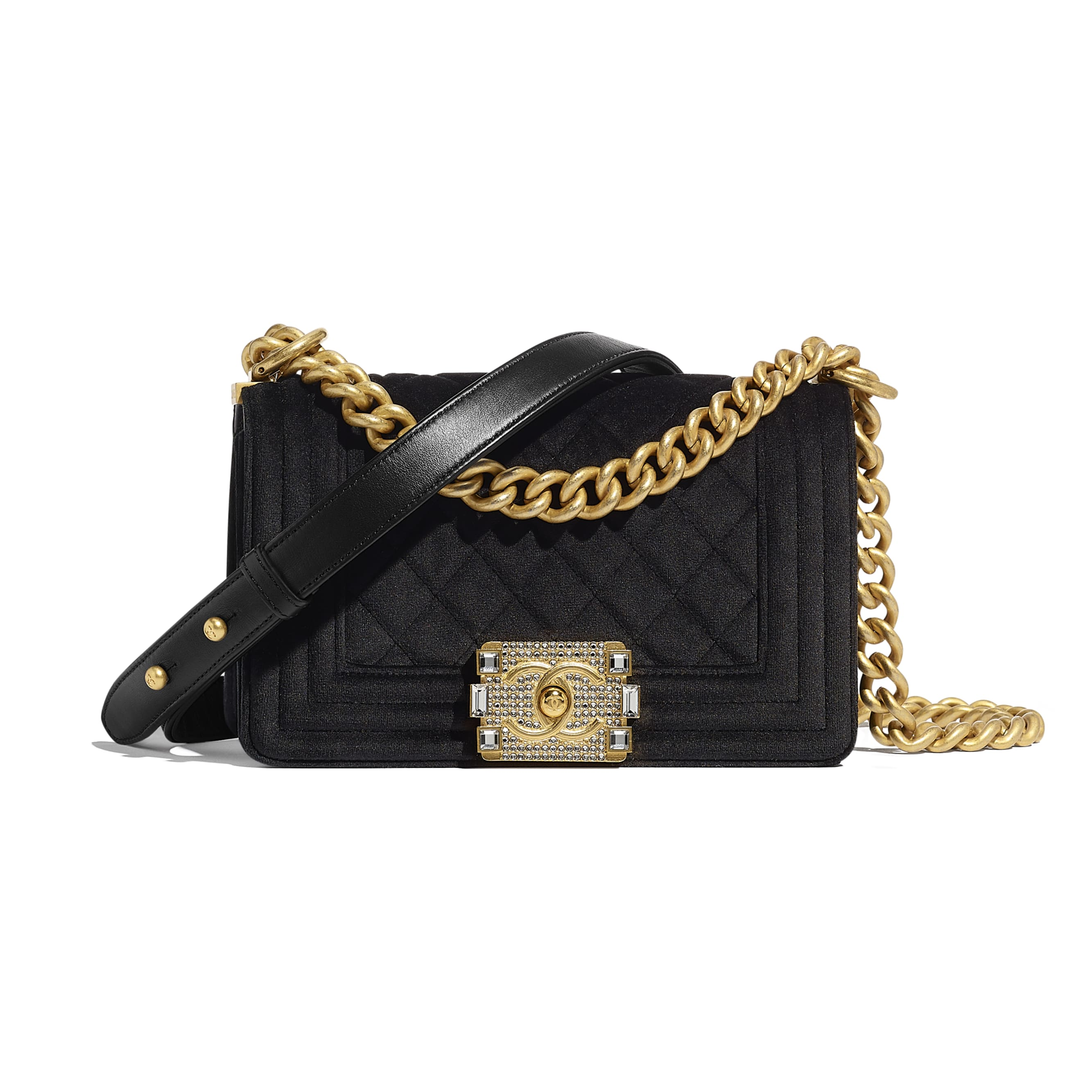 Small BOY CHANEL Handbag - Black - Velvet & Gold Metal - CHANEL - Default view - see standard sized version