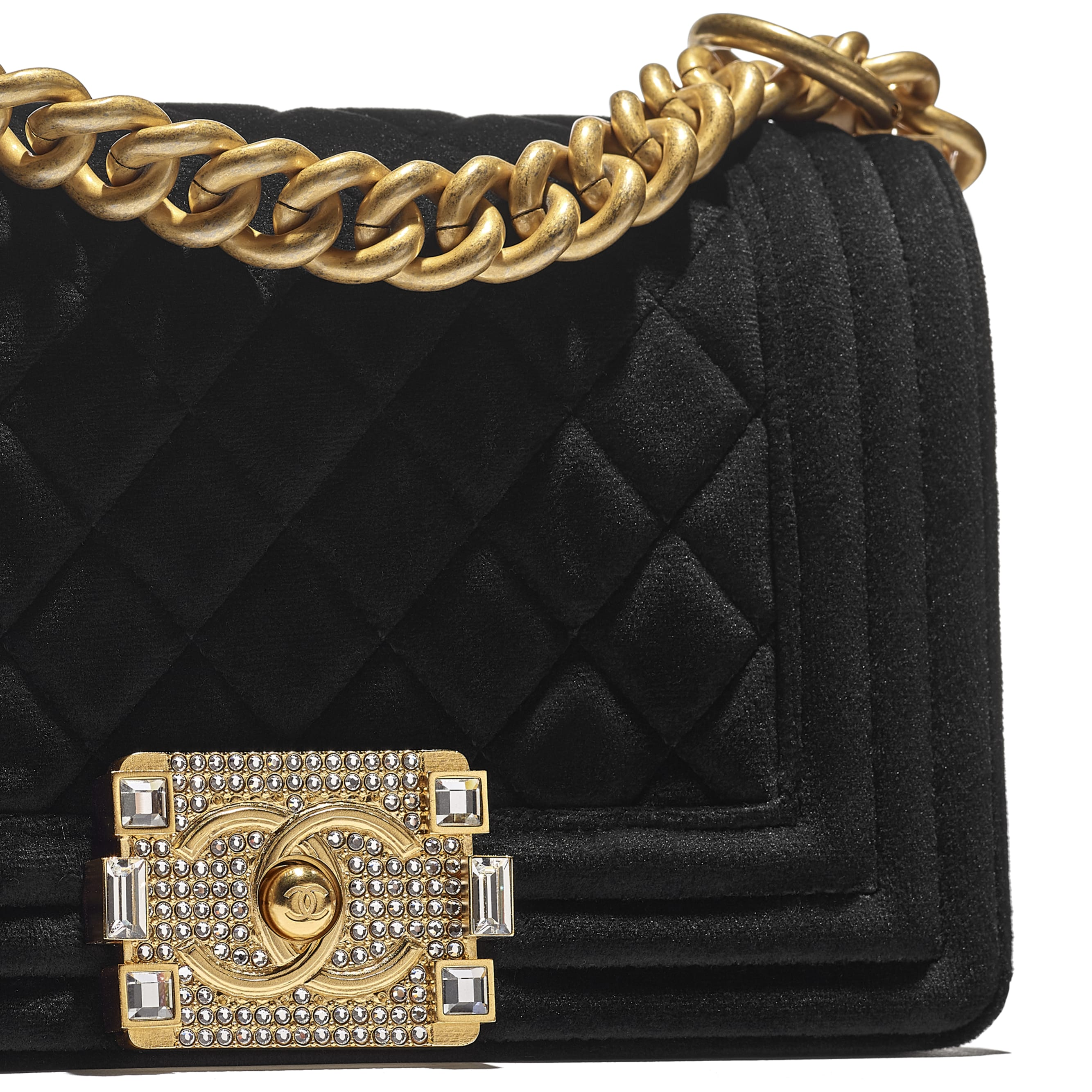 Small BOY CHANEL Handbag - Black - Velvet & Gold Metal - CHANEL - Extra view - see standard sized version