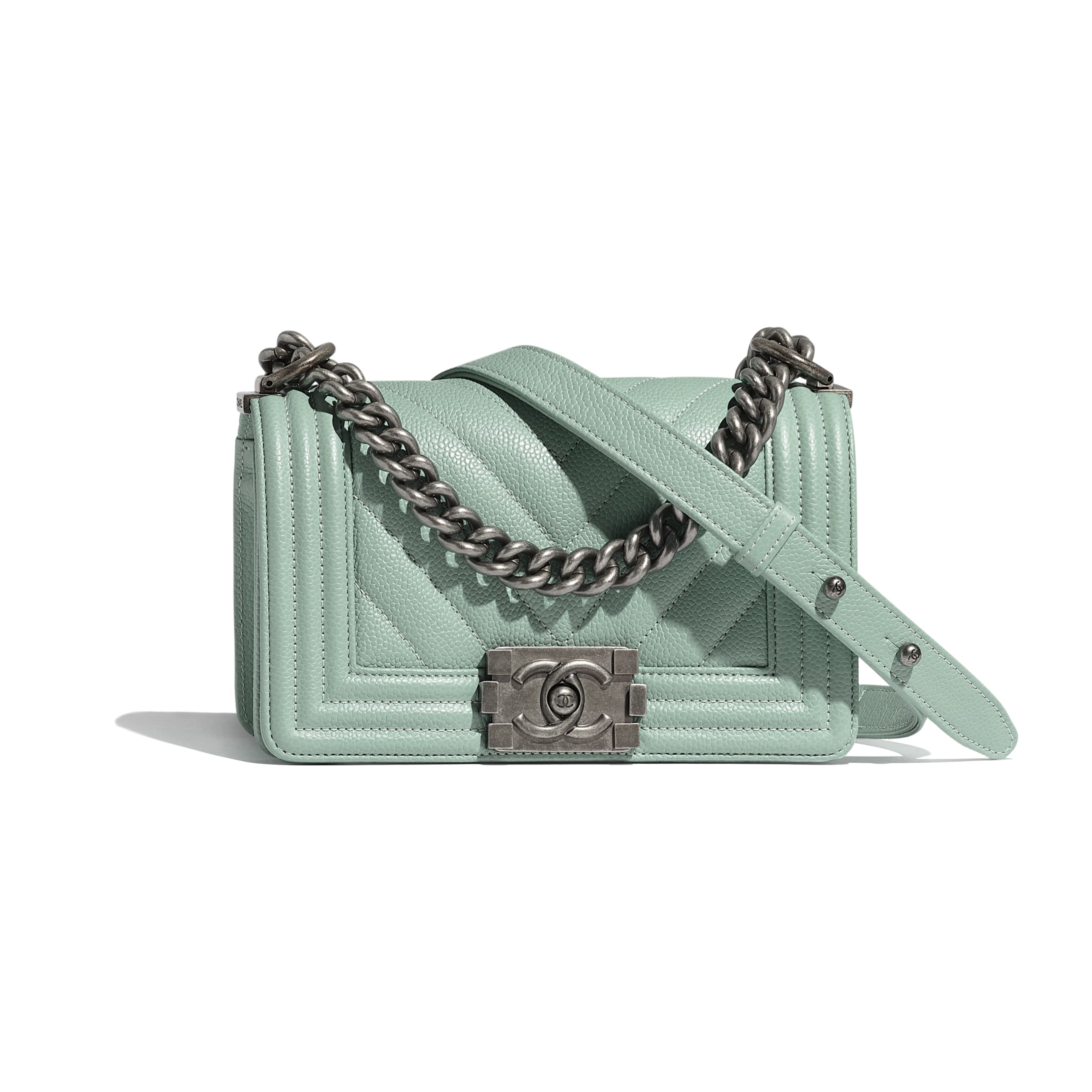 Small BOY CHANEL Handbag - Blue - Grained Calfskin & Ruthenium-Finish Metal - Default view - see standard sized version