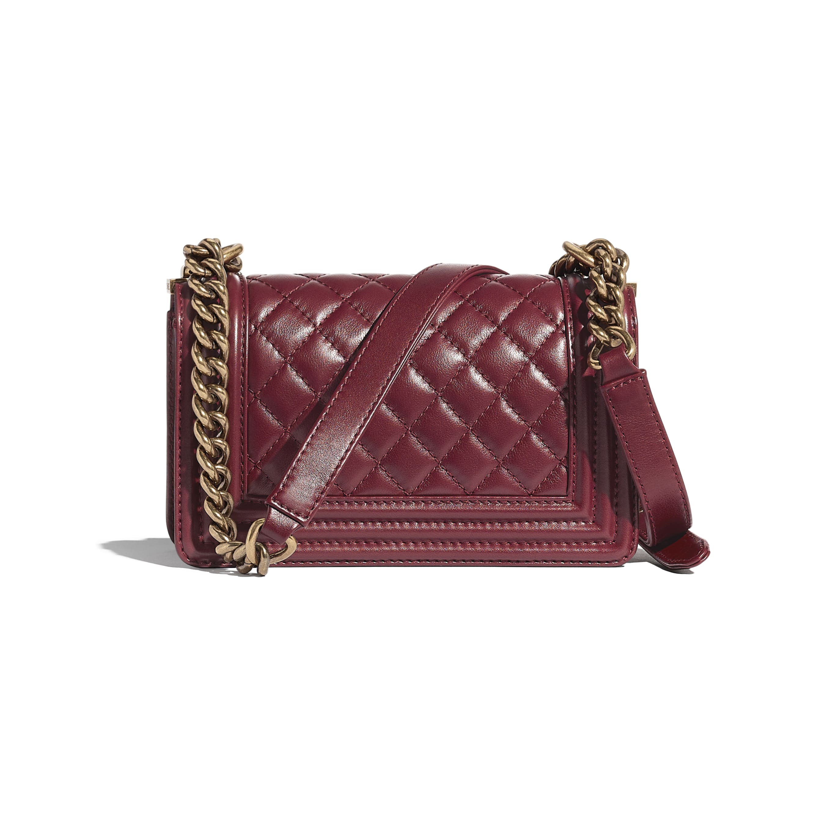 Small BOY CHANEL Handbag - Burgundy - Calfskin & Aged Gold-Tone Metal - CHANEL - Alternative view - see standard sized version
