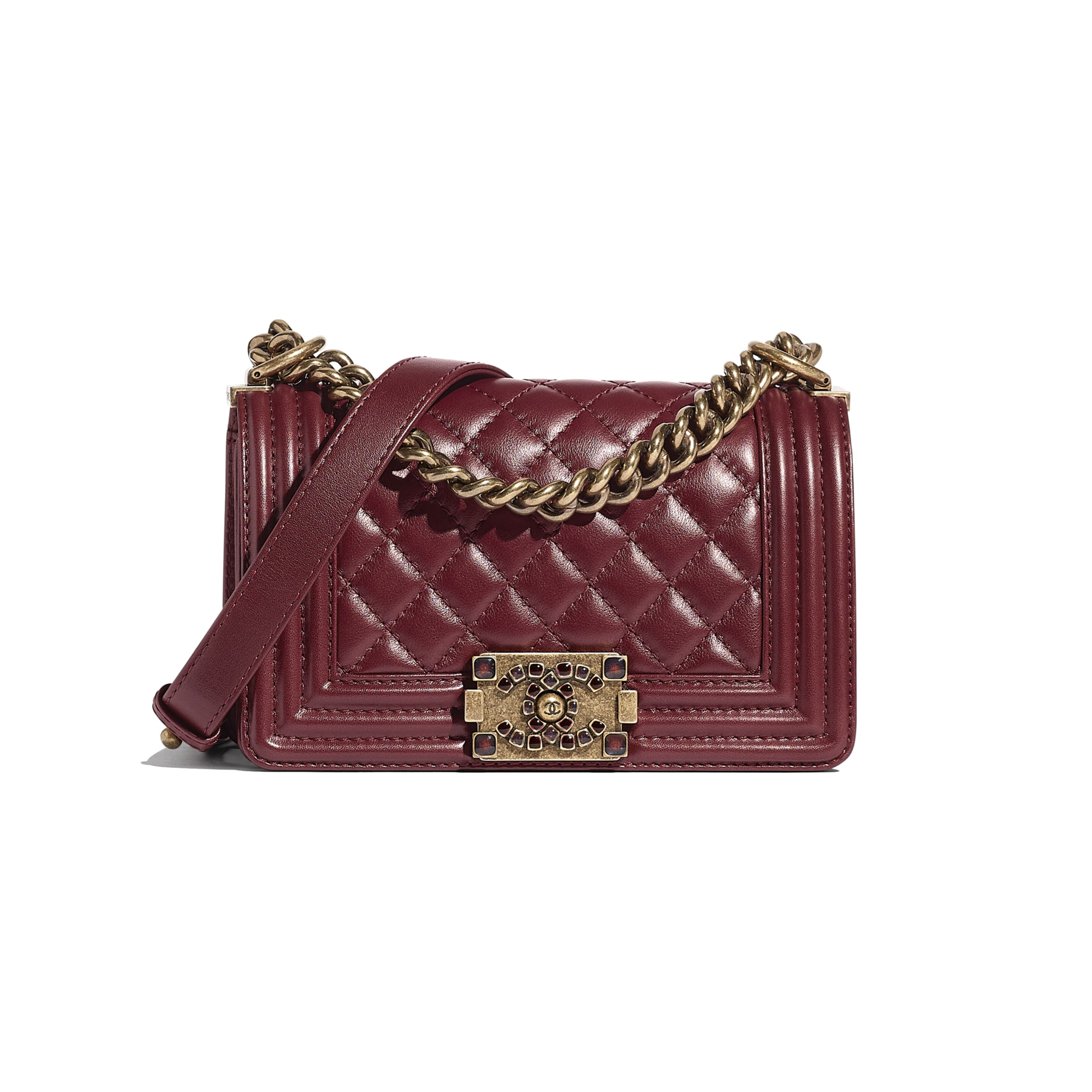 Small BOY CHANEL Handbag - Burgundy - Calfskin & Aged Gold-Tone Metal - CHANEL - Default view - see standard sized version