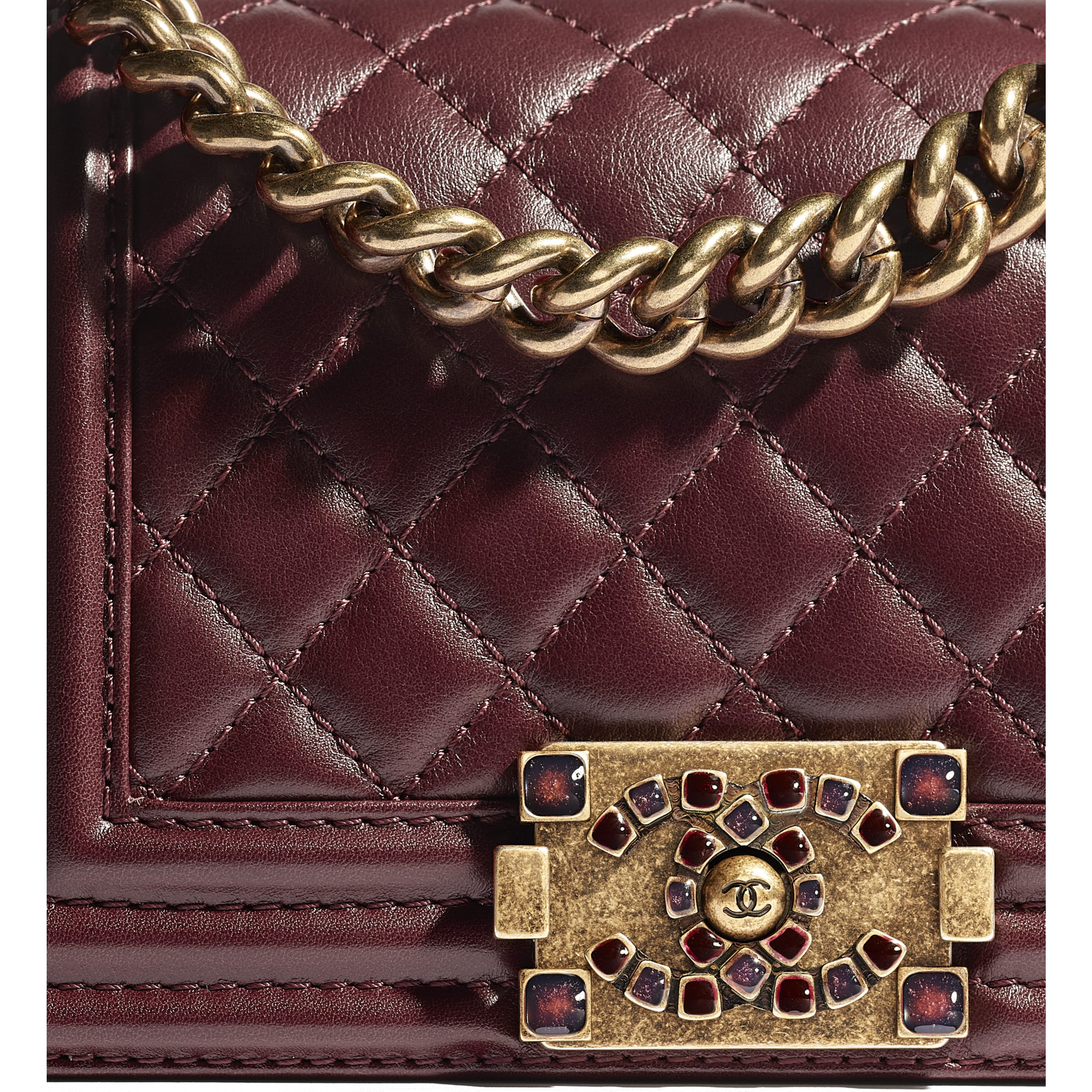 Small BOY CHANEL Handbag - Burgundy - Calfskin & Aged Gold-Tone Metal - CHANEL - Extra view - see standard sized version