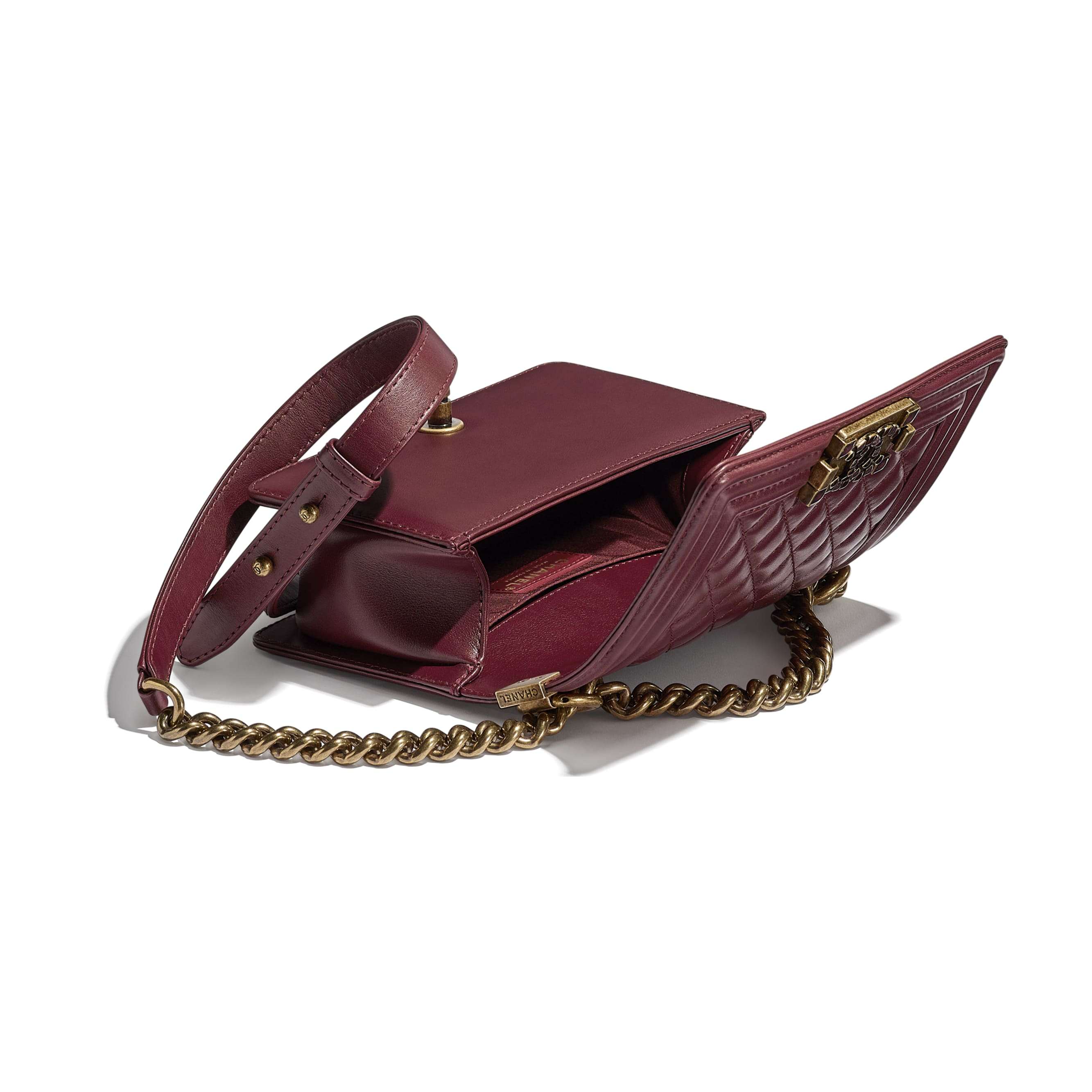 Small BOY CHANEL Handbag - Burgundy - Calfskin & Aged Gold-Tone Metal - CHANEL - Other view - see standard sized version