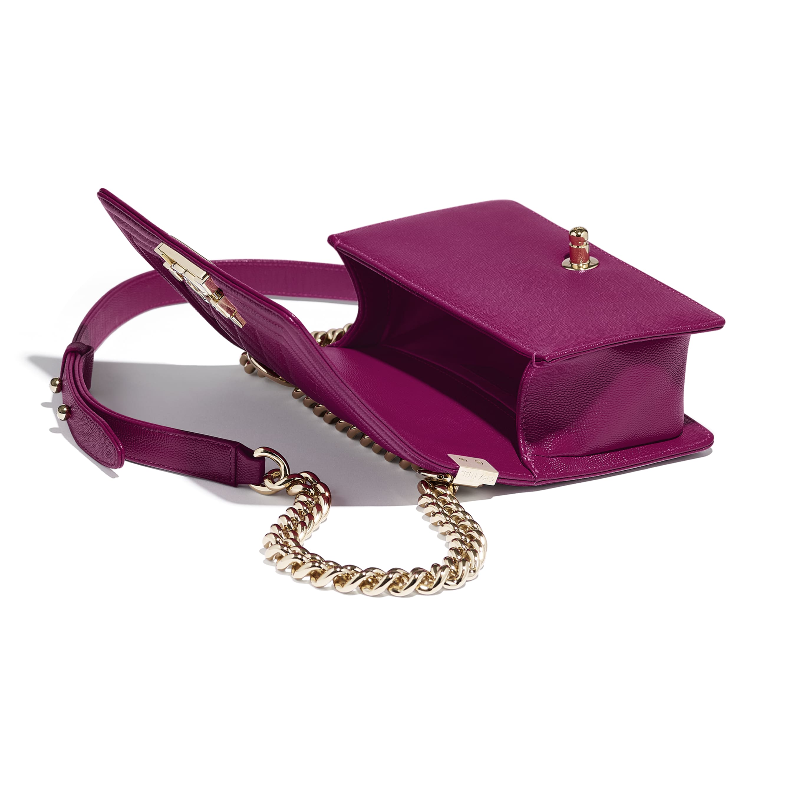 Small BOY CHANEL Handbag - Fuchsia - Grained Calfskin & Gold-Tone Metal - Other view - see standard sized version