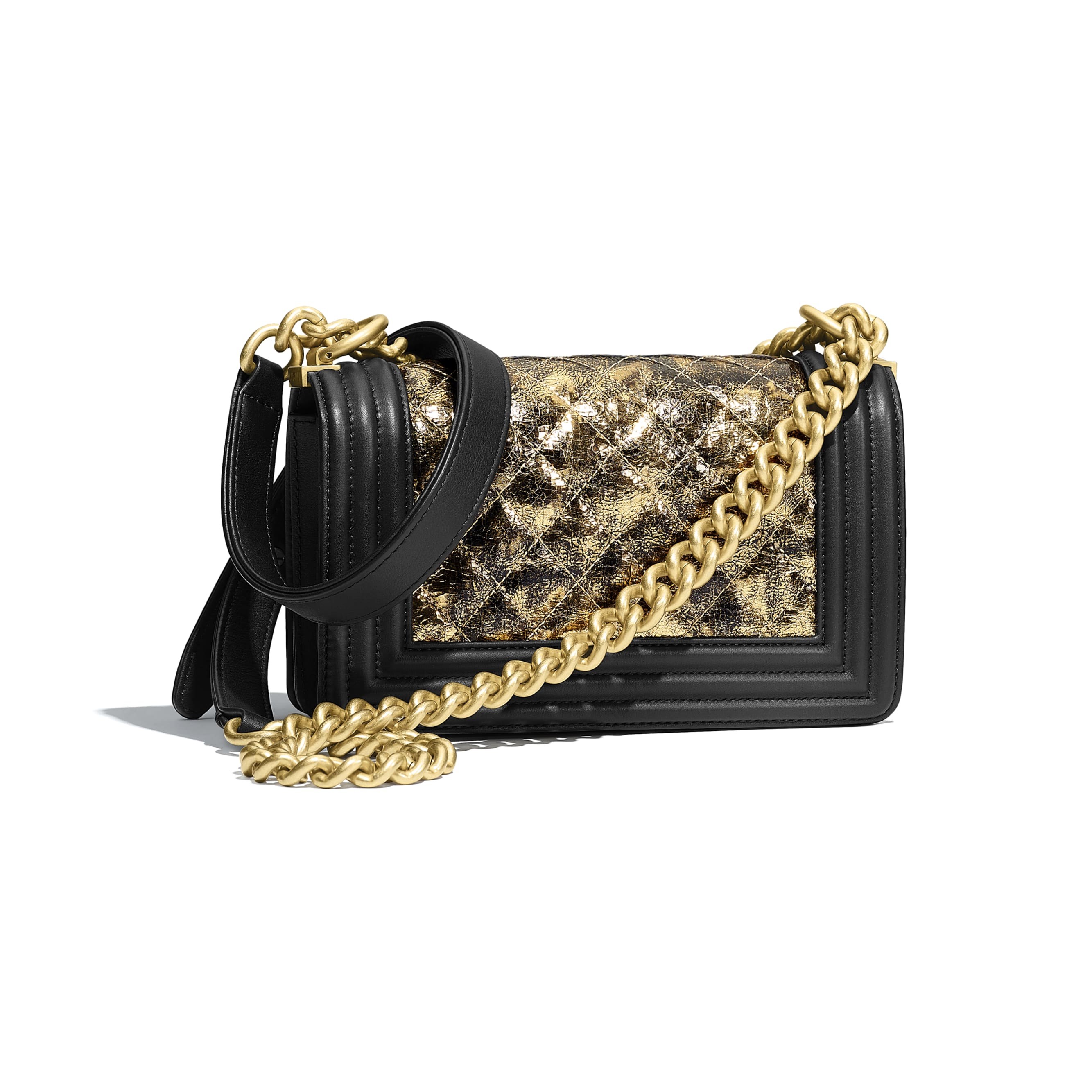 Small BOY CHANEL Handbag - Gold & Black - Metallic Crumpled Goatskin, Calfskin & Gold-Tone Metal - Alternative view - see standard sized version