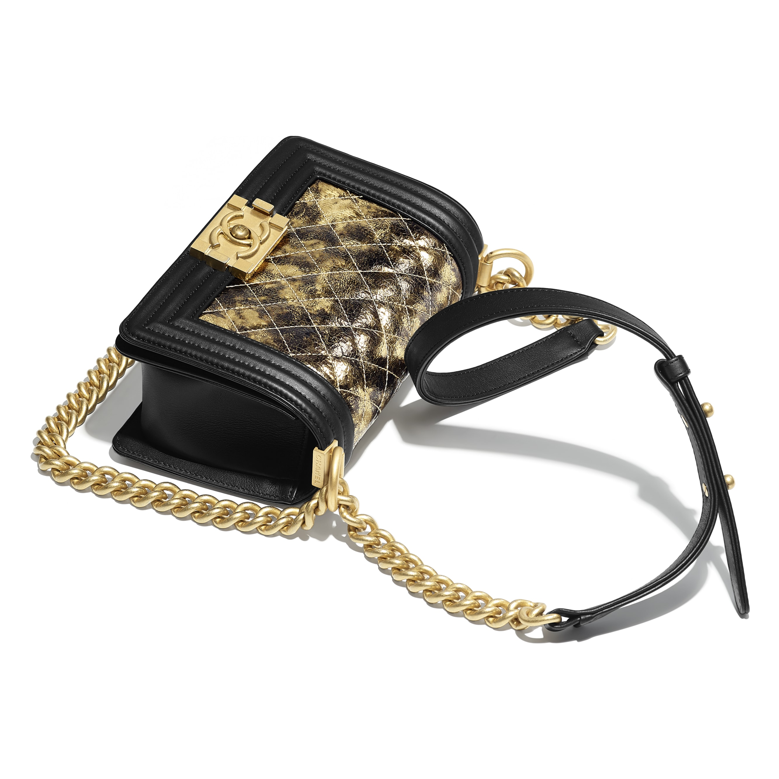 Small BOY CHANEL Handbag - Gold & Black - Metallic Crumpled Goatskin, Calfskin & Gold-Tone Metal - Other view - see standard sized version