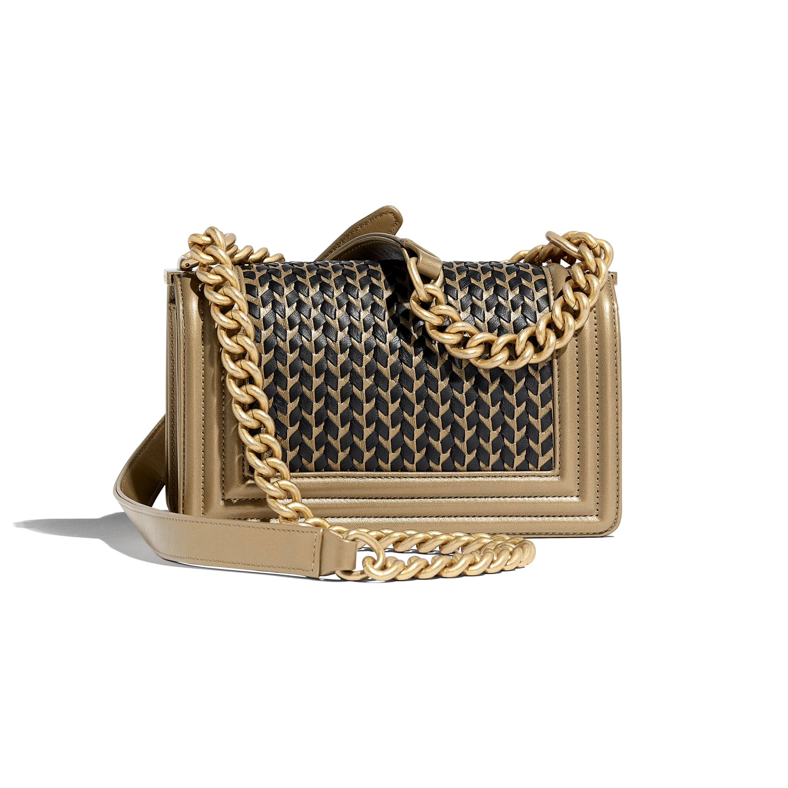 Small BOY CHANEL Handbag - Gold & Black - Metallic Lambskin & Gold Metal - CHANEL - Alternative view - see standard sized version