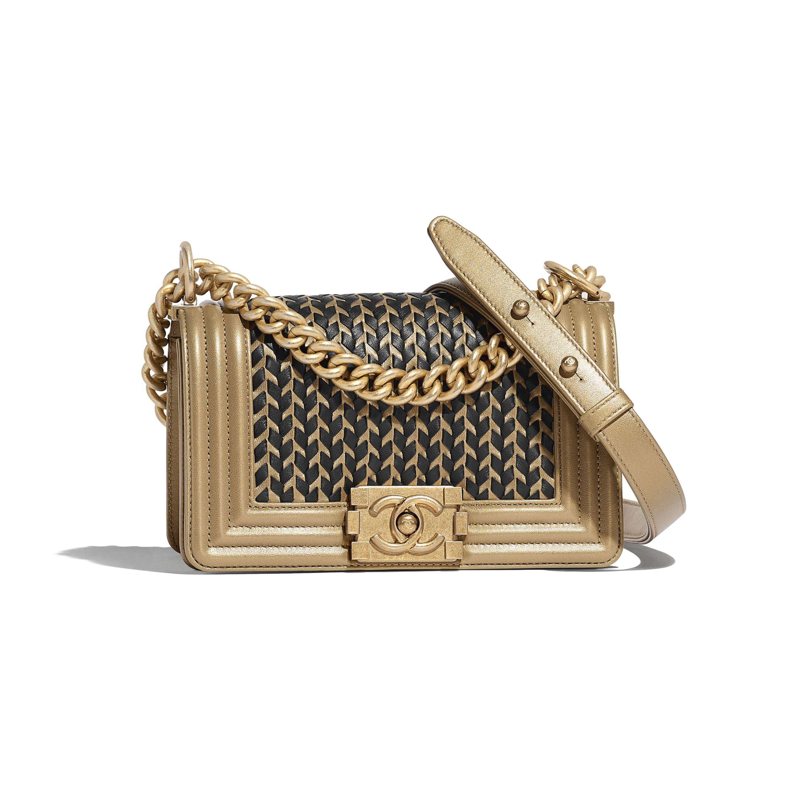 Small BOY CHANEL Handbag - Gold & Black - Metallic Lambskin & Gold Metal - CHANEL - Default view - see standard sized version