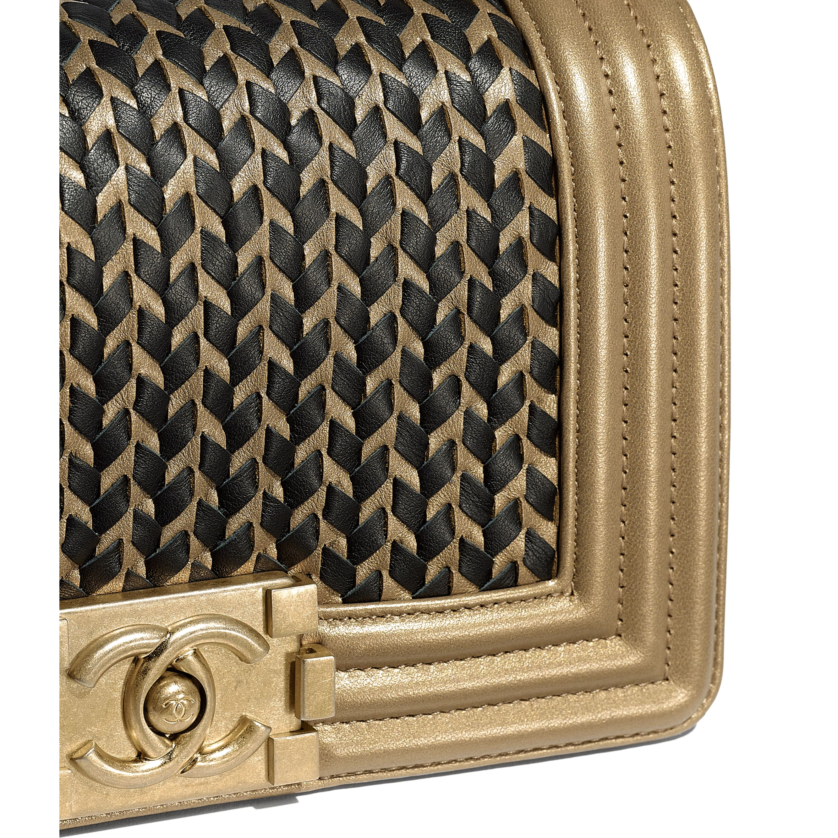 Small BOY CHANEL Handbag - Gold & Black - Metallic Lambskin & Gold Metal - CHANEL - Extra view - see standard sized version