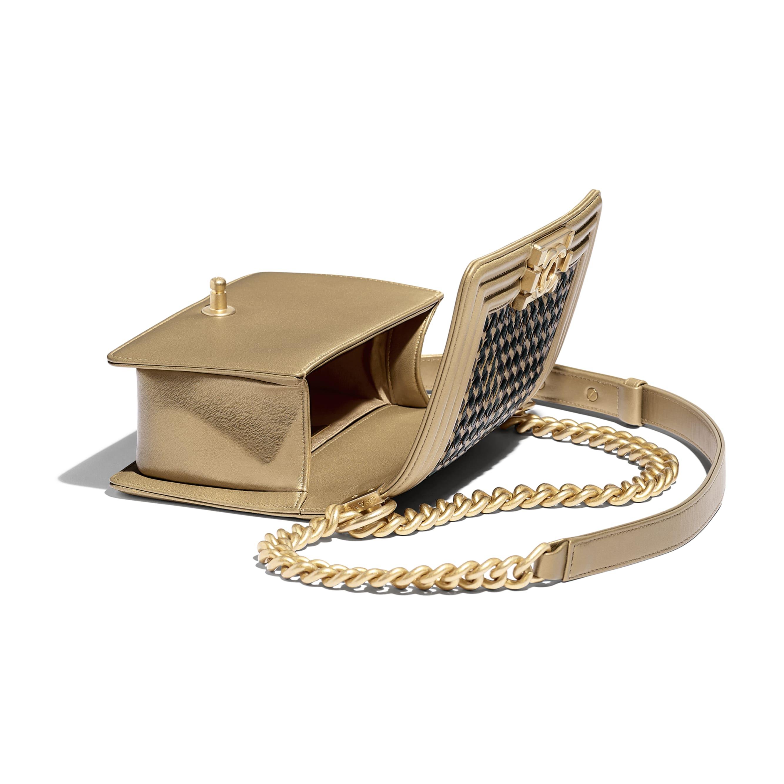 Small BOY CHANEL Handbag - Gold & Black - Metallic Lambskin & Gold Metal - CHANEL - Other view - see standard sized version
