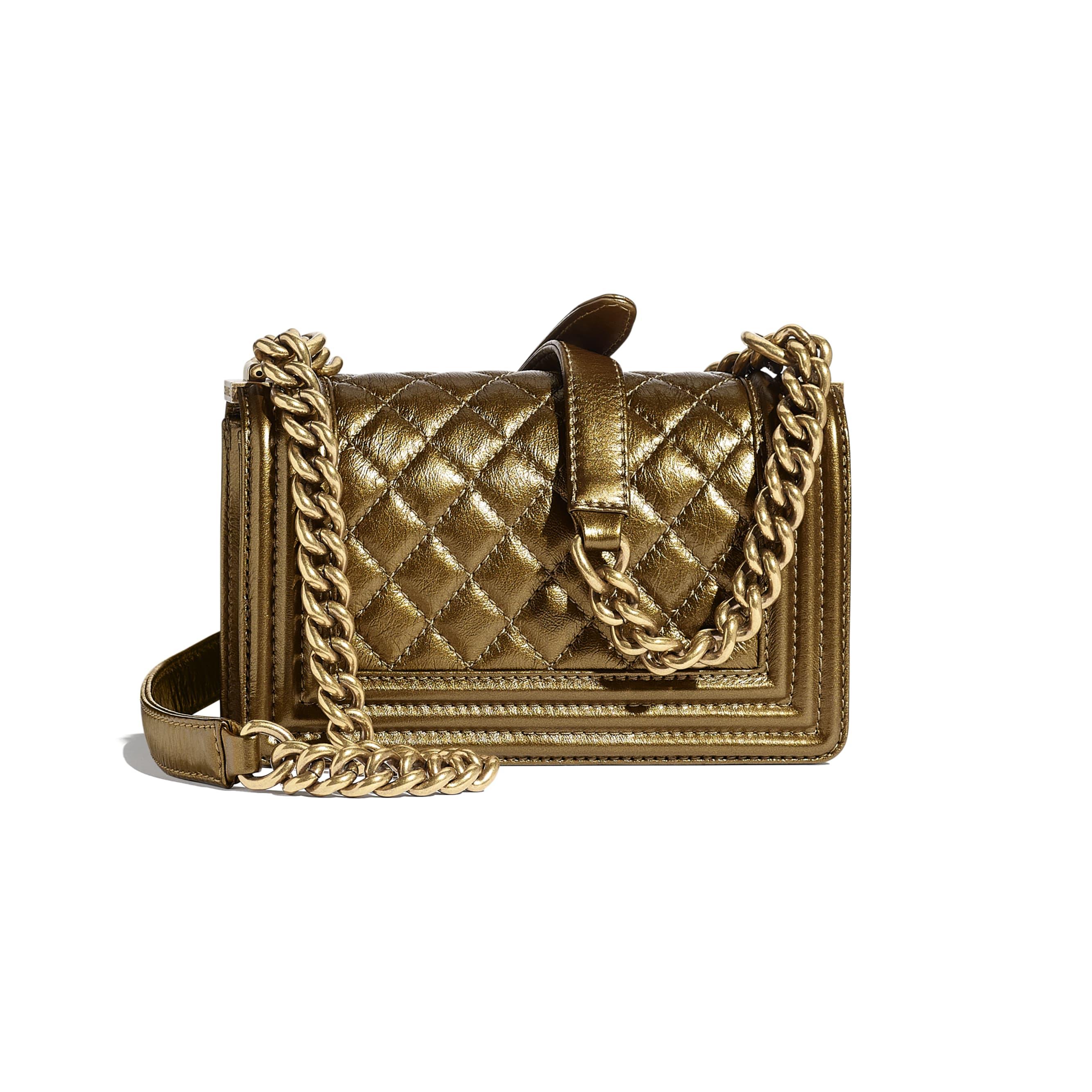 Small BOY CHANEL Handbag - Gold - Metallic Calfskin, Enamel & Gold-Tone Metal - CHANEL - Alternative view - see standard sized version