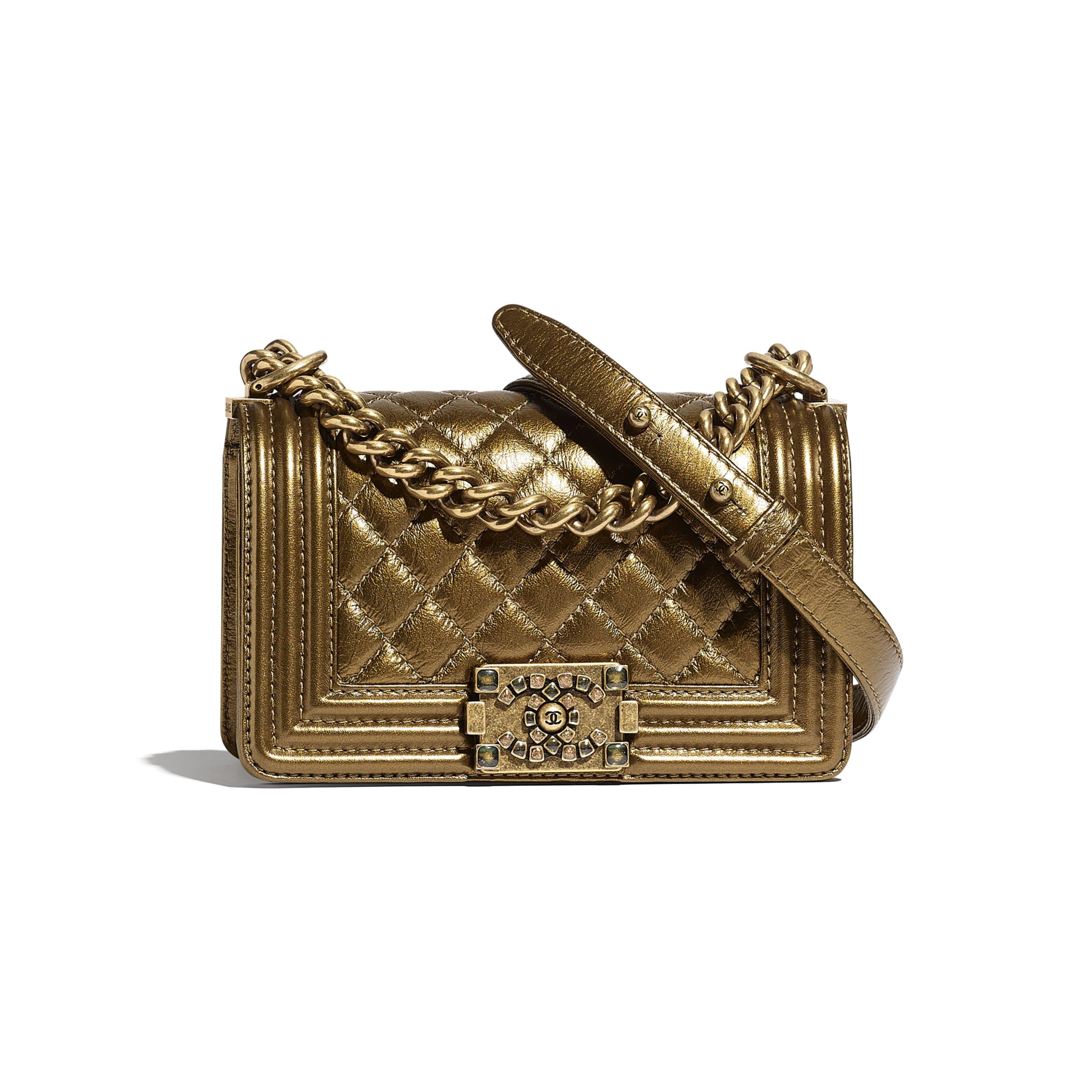 Small BOY CHANEL Handbag - Gold - Metallic Calfskin, Enamel & Gold-Tone Metal - CHANEL - Default view - see standard sized version