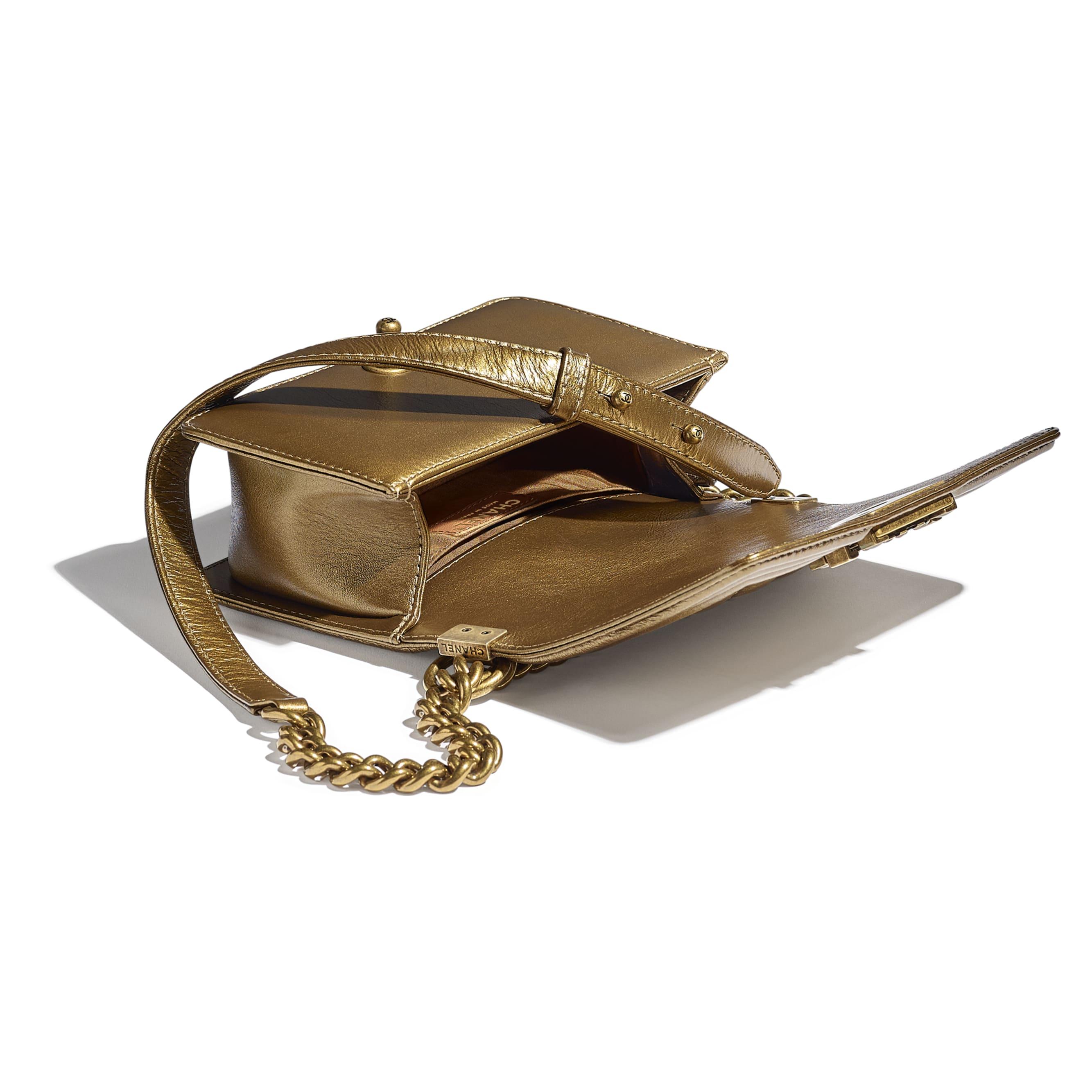 Small BOY CHANEL Handbag - Gold - Metallic Calfskin, Enamel & Gold-Tone Metal - CHANEL - Other view - see standard sized version