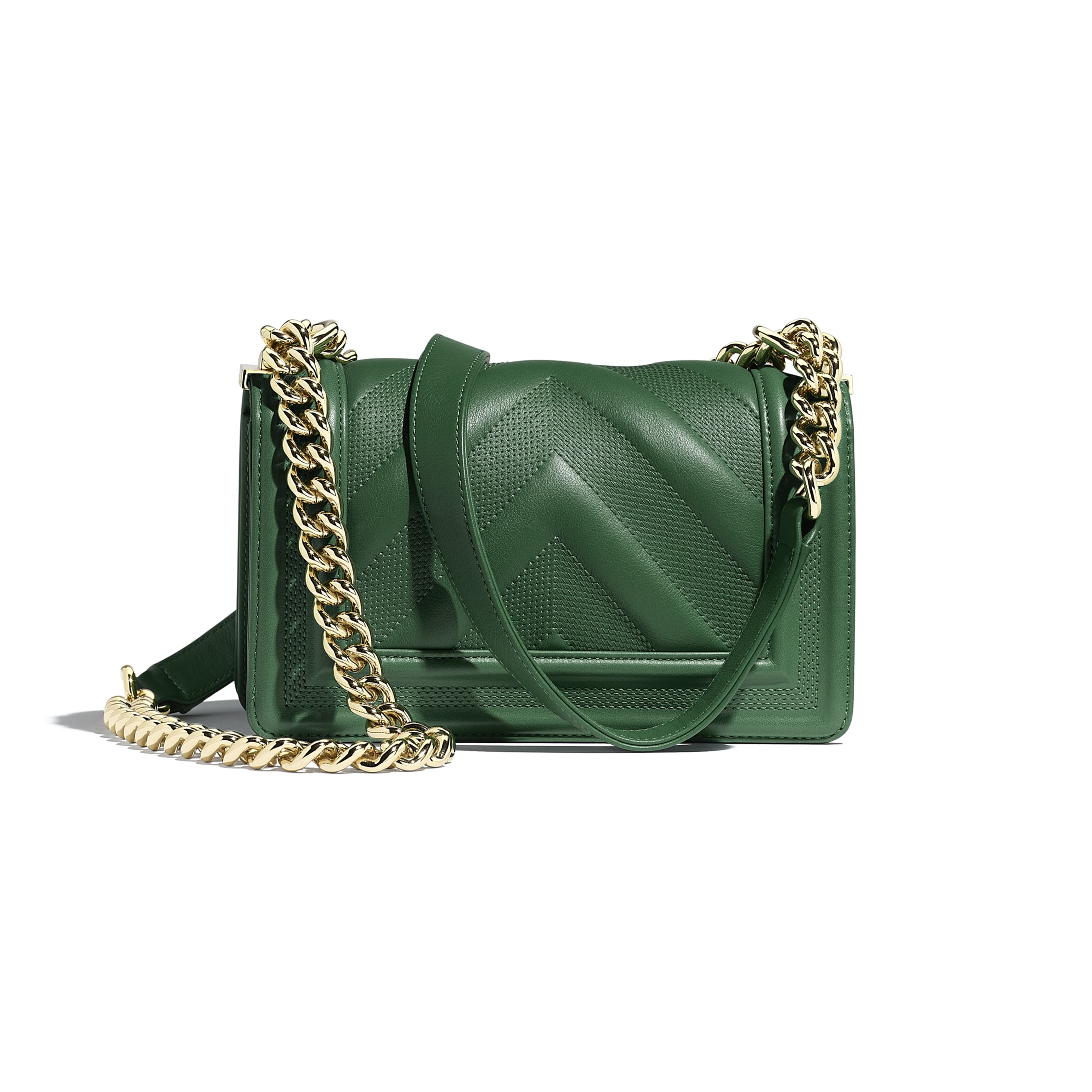 Small BOY CHANEL Handbag - Green - Calfskin & Gold-Tone Metal - Alternative view - see standard sized version
