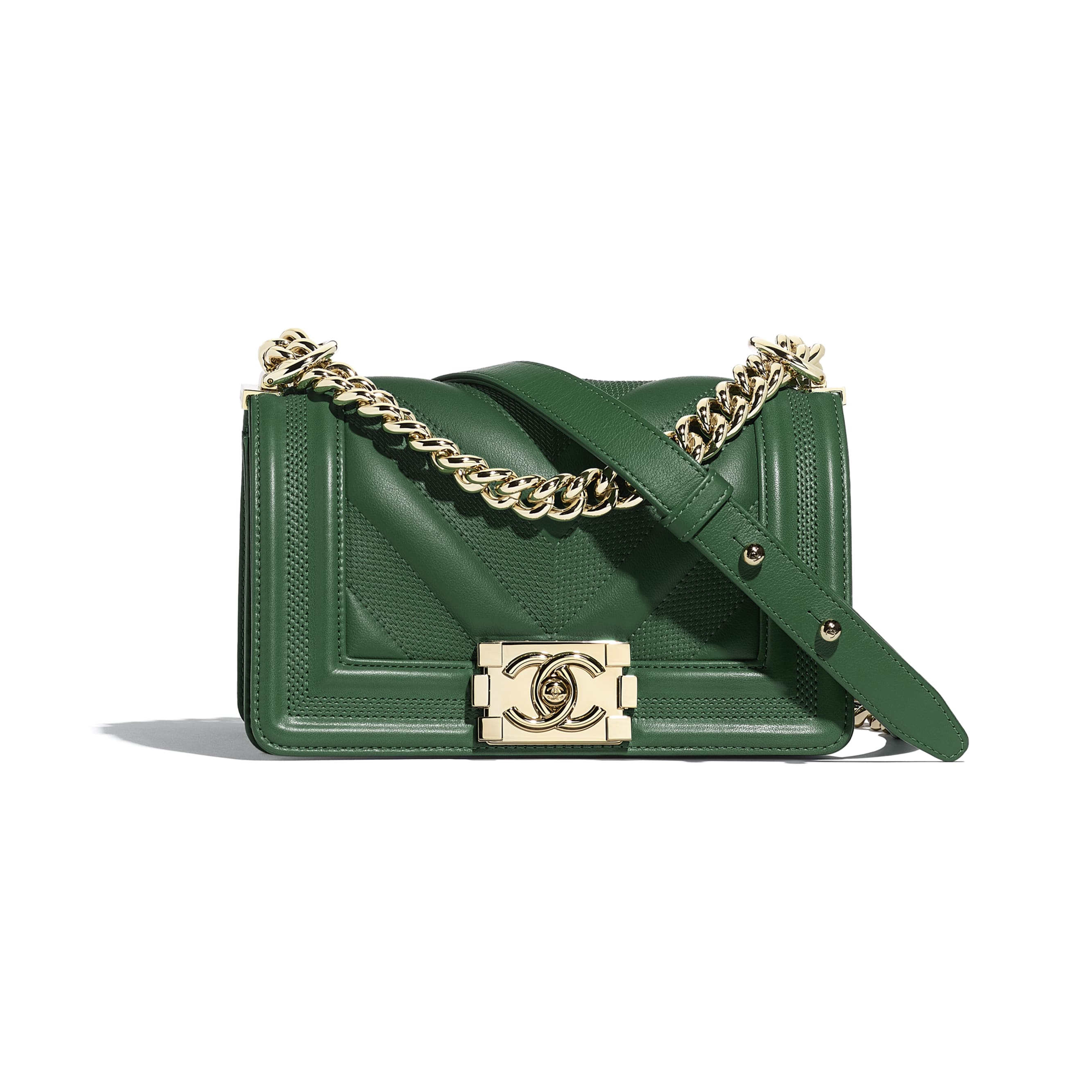 Small BOY CHANEL Handbag - Green - Calfskin & Gold-Tone Metal - Default view - see standard sized version
