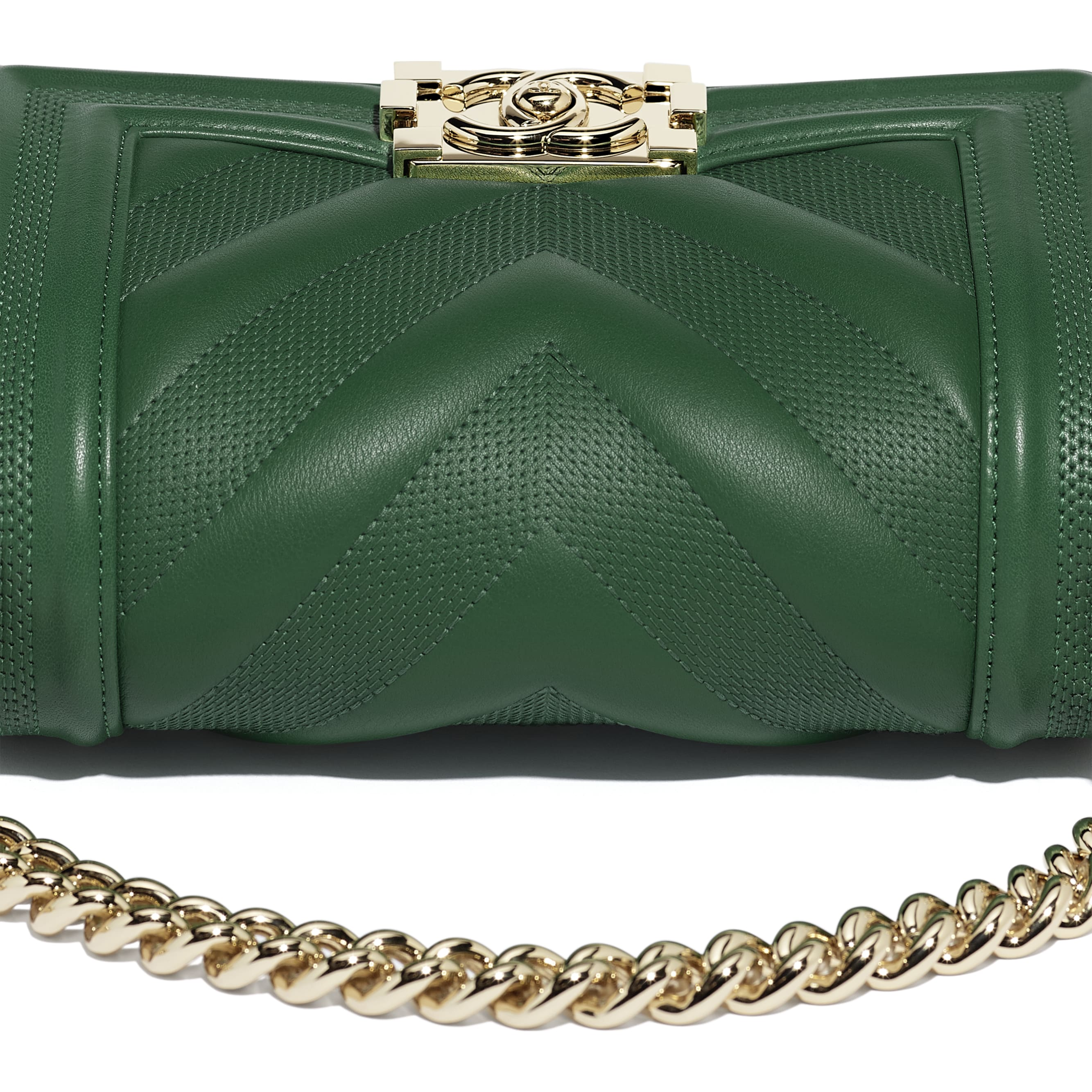 Small BOY CHANEL Handbag - Green - Calfskin & Gold-Tone Metal - Extra view - see standard sized version