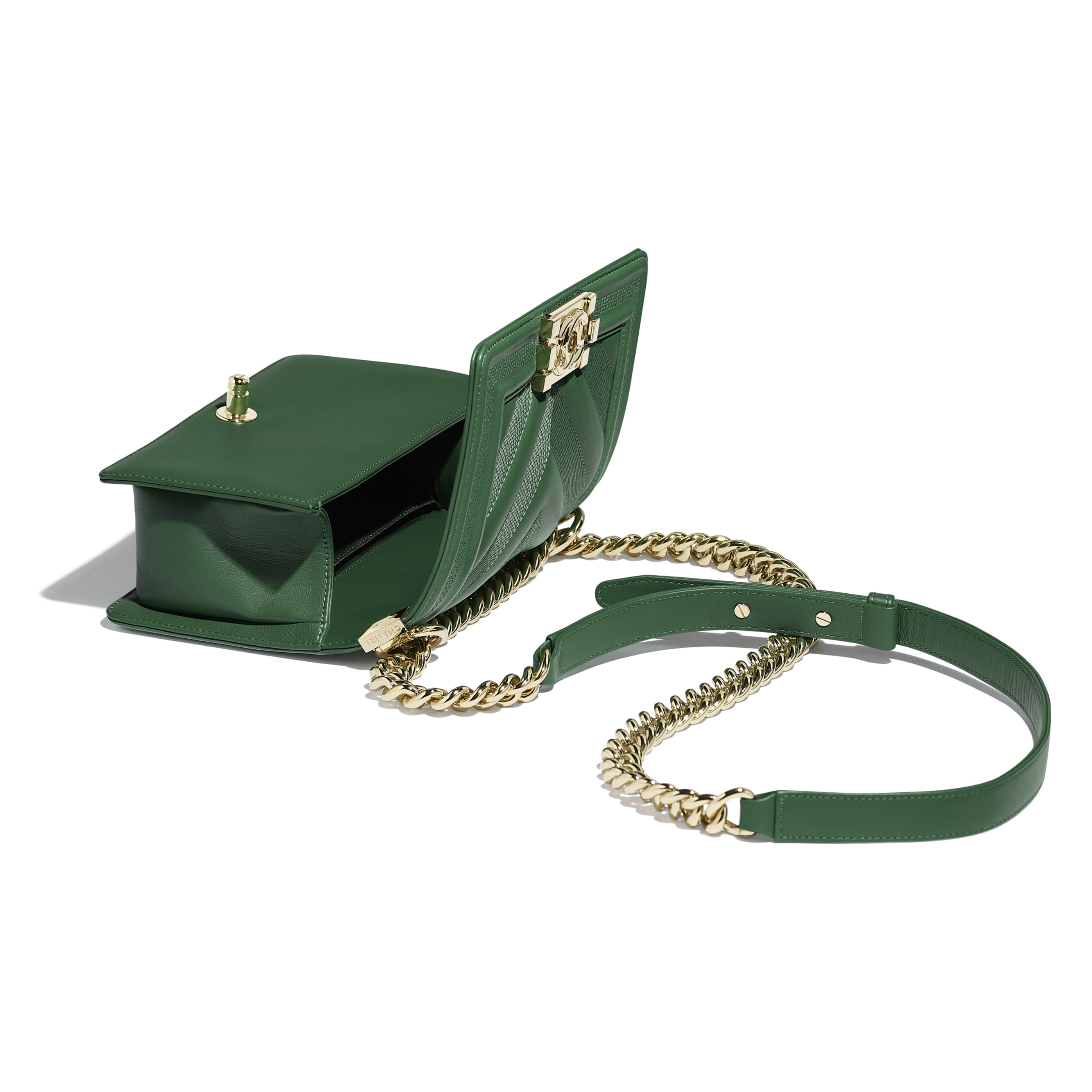 Small BOY CHANEL Handbag - Green - Calfskin & Gold-Tone Metal - Other view - see standard sized version