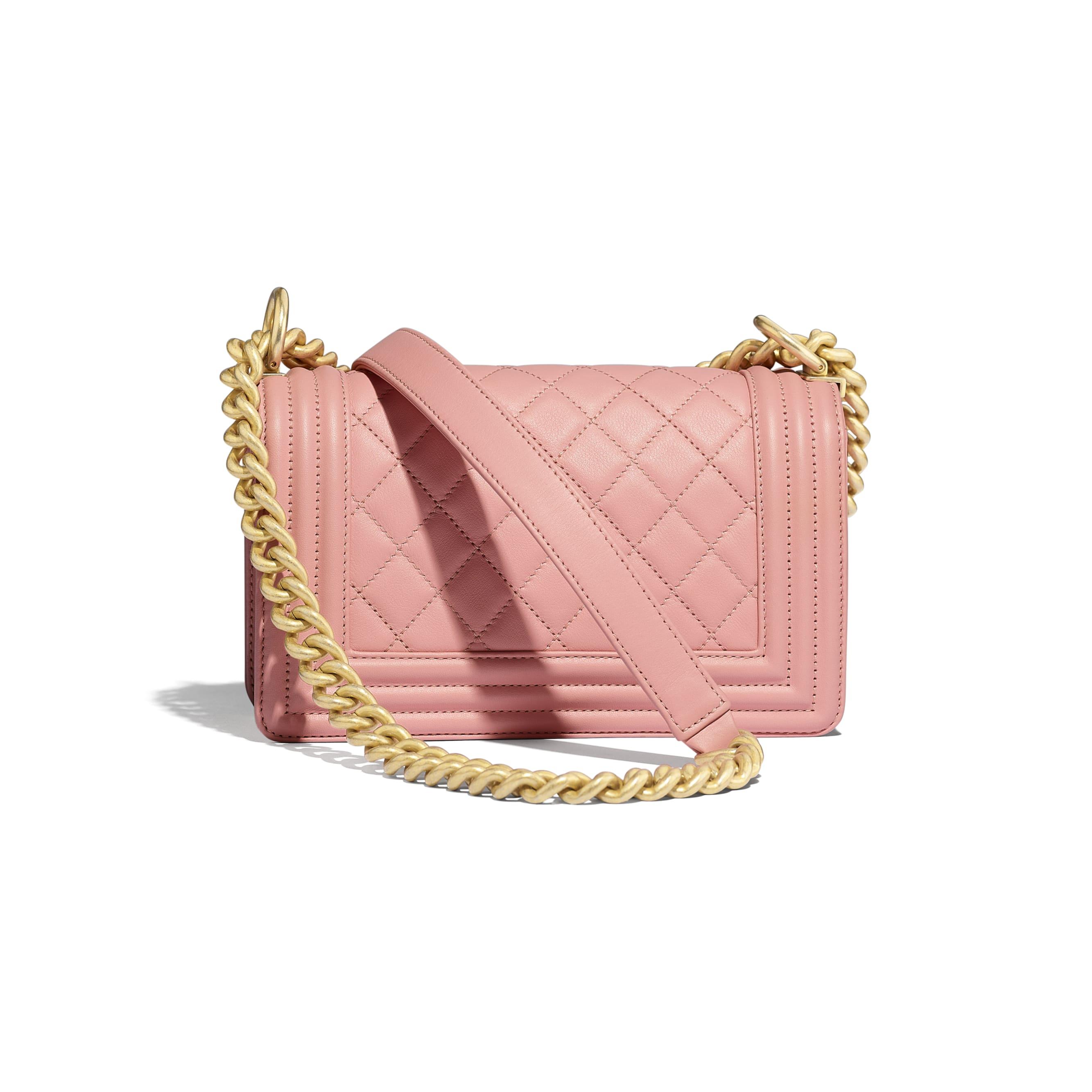 Small BOY CHANEL Handbag - Pink - Calfskin & Gold-Tone Metal - Alternative view - see standard sized version