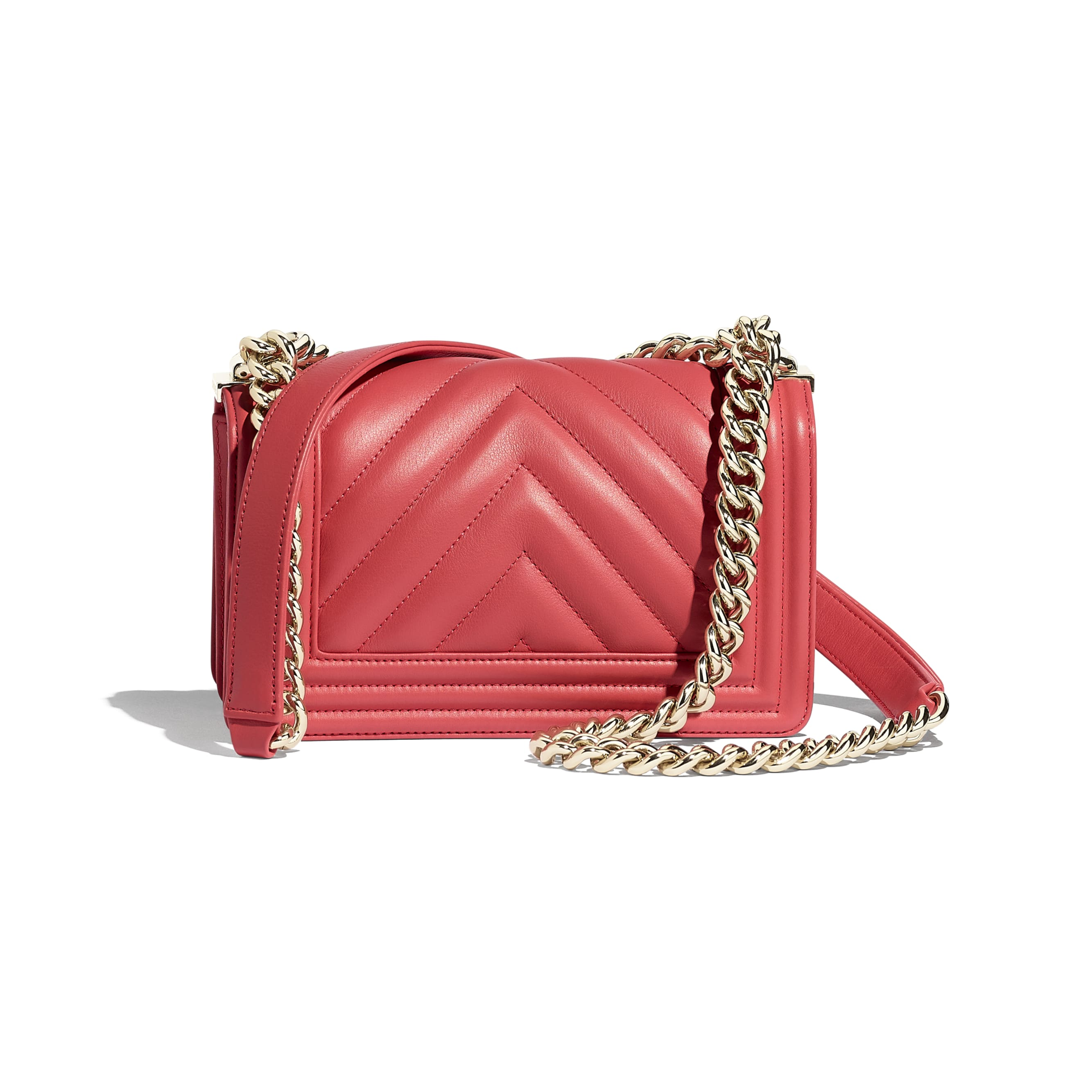 Small BOY CHANEL Handbag - Pink - Calfskin & Gold-Tone Metal - CHANEL - Alternative view - see standard sized version