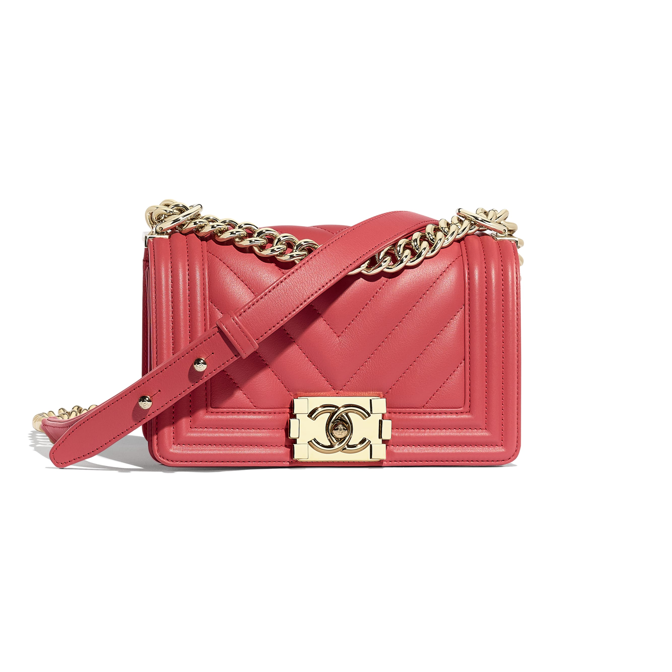 Small BOY CHANEL Handbag - Pink - Calfskin & Gold-Tone Metal - CHANEL - Default view - see standard sized version