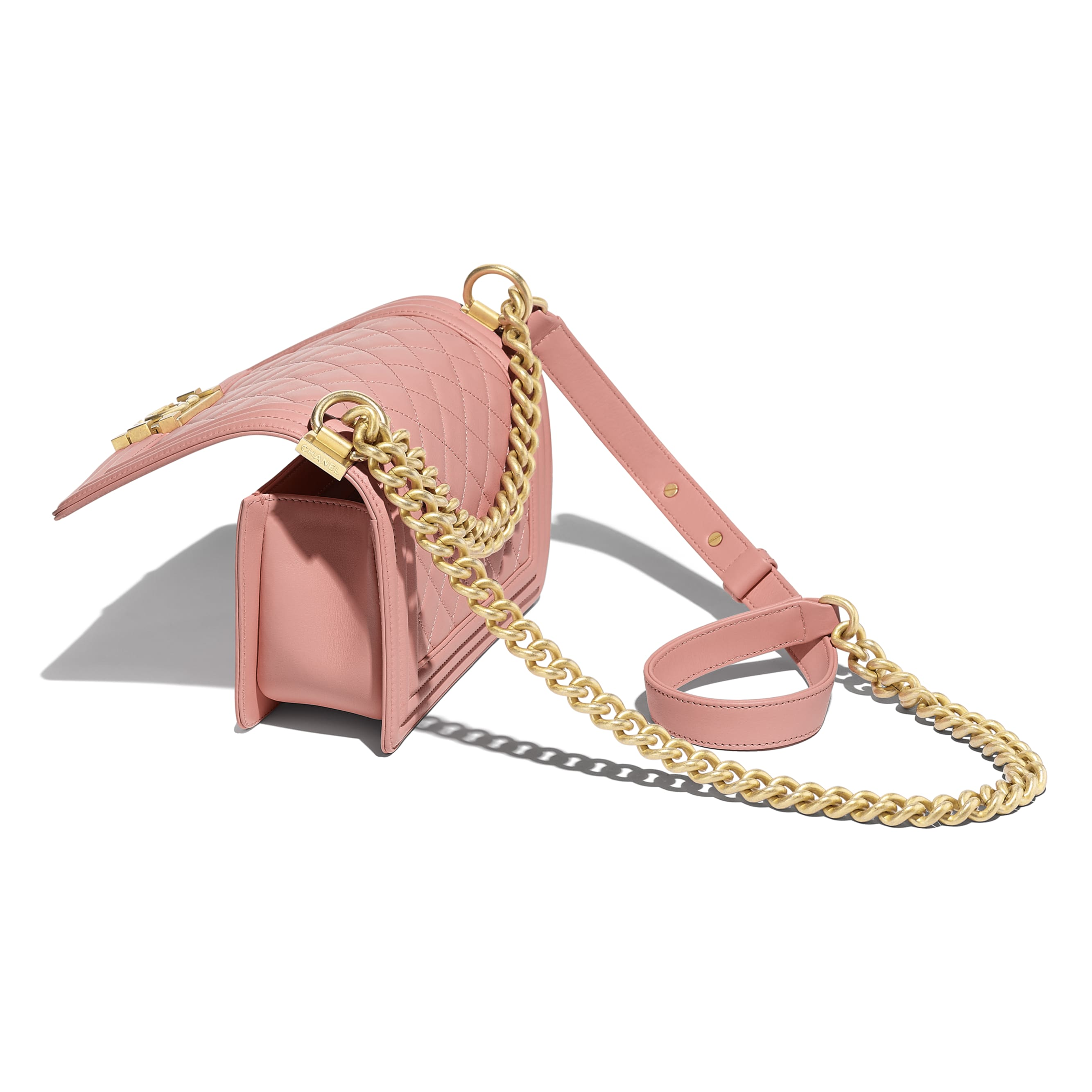 Small BOY CHANEL Handbag - Pink - Calfskin & Gold-Tone Metal - Other view - see standard sized version