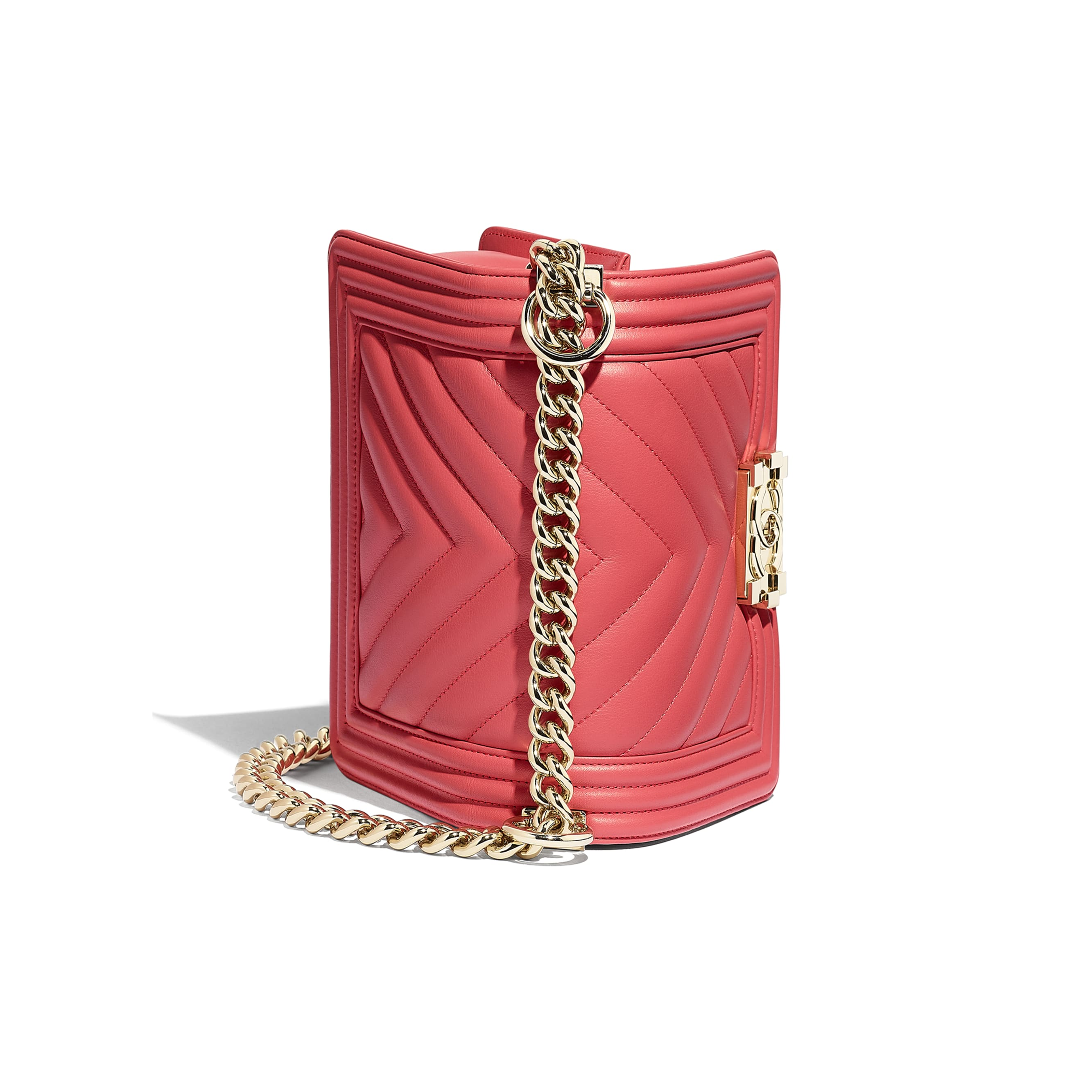 Small BOY CHANEL Handbag - Pink - Calfskin & Gold-Tone Metal - CHANEL - Other view - see standard sized version