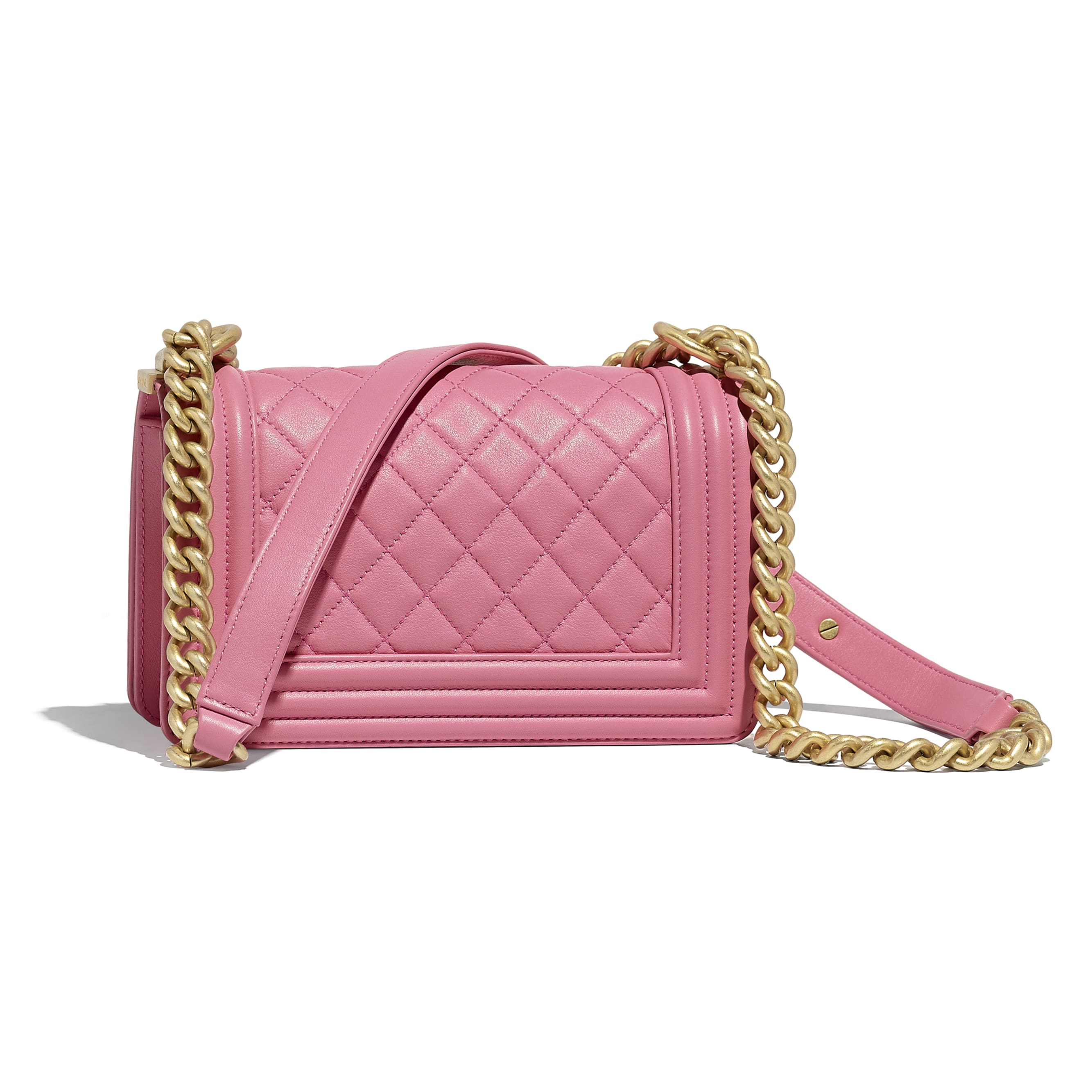 Small BOY CHANEL Handbag - Pink - Calfskin & Gold-Tone Metal - Alternative view - see standard sized version