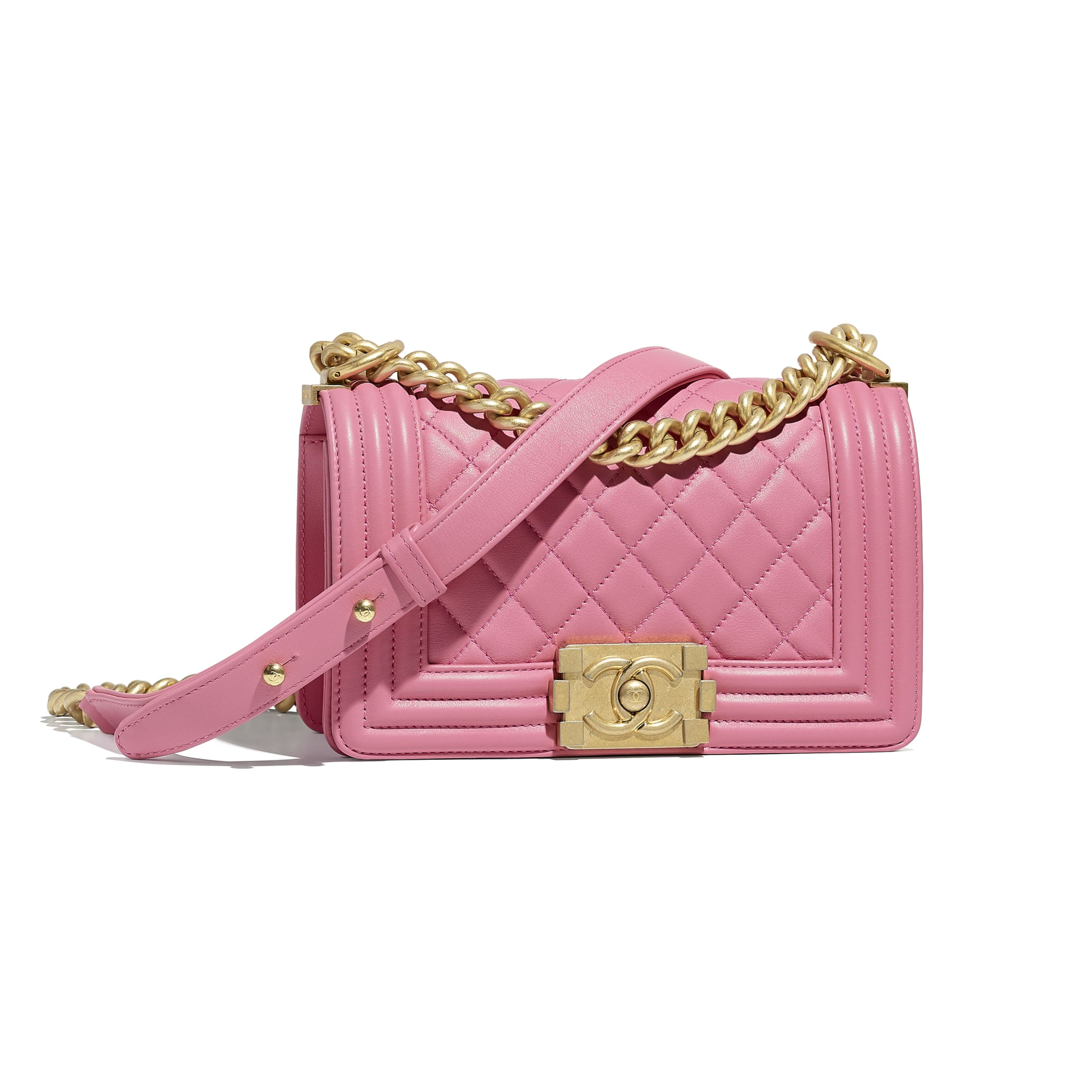 Small BOY CHANEL Handbag - Pink - Calfskin & Gold-Tone Metal - Default view - see standard sized version