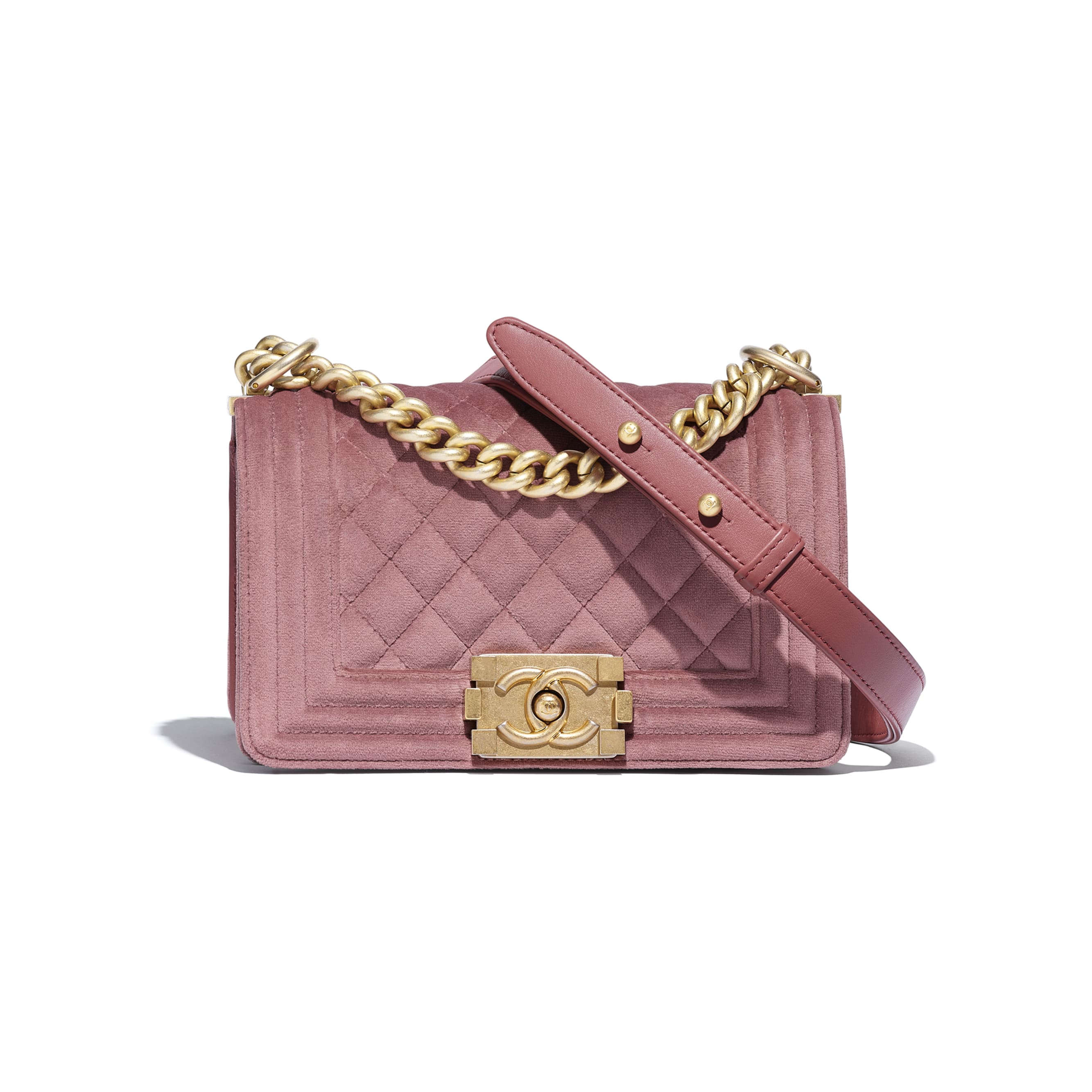 Small BOY CHANEL Handbag - Pink - Velvet & Gold Metal - CHANEL - Default view - see standard sized version