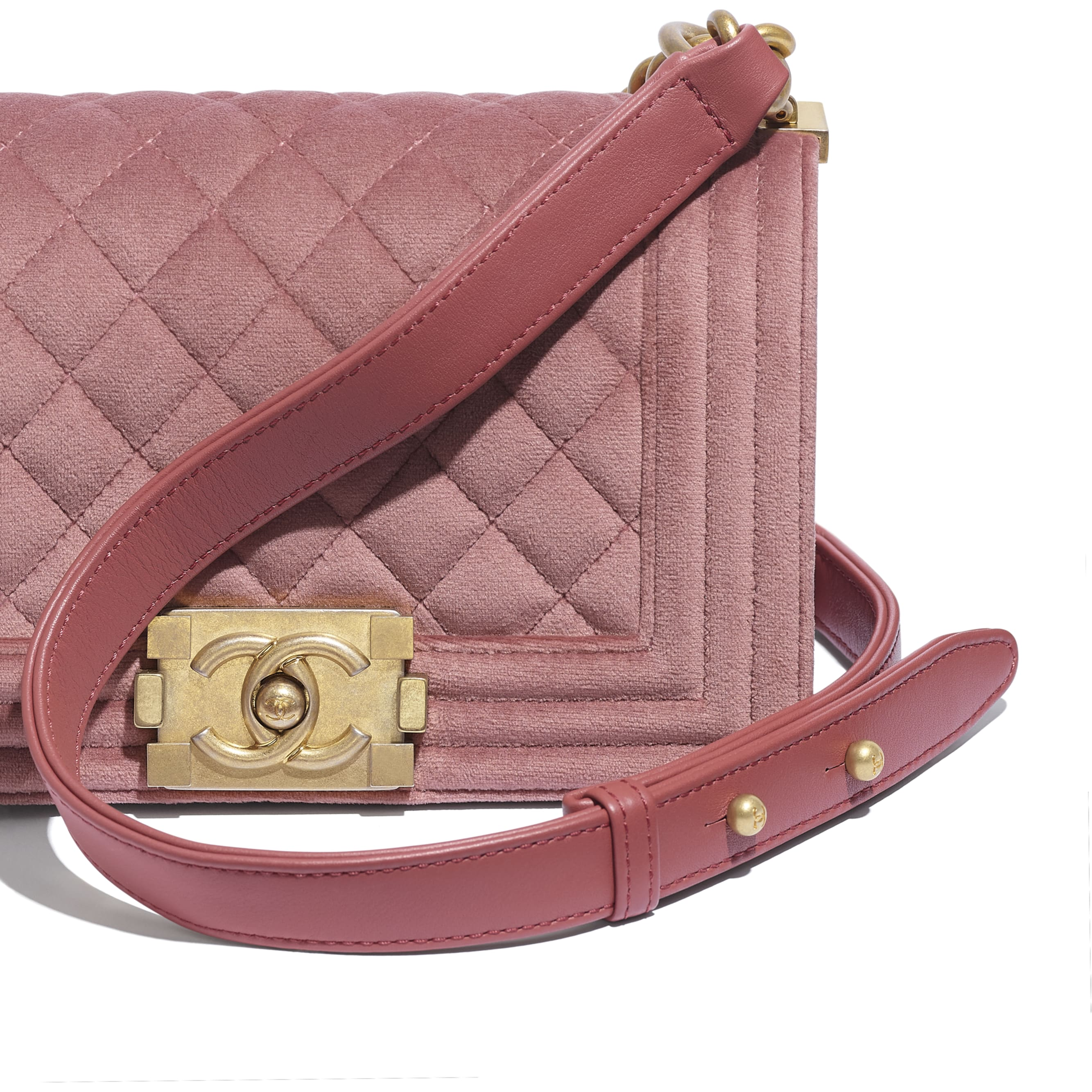 Small BOY CHANEL Handbag - Pink - Velvet & Gold Metal - CHANEL - Extra view - see standard sized version