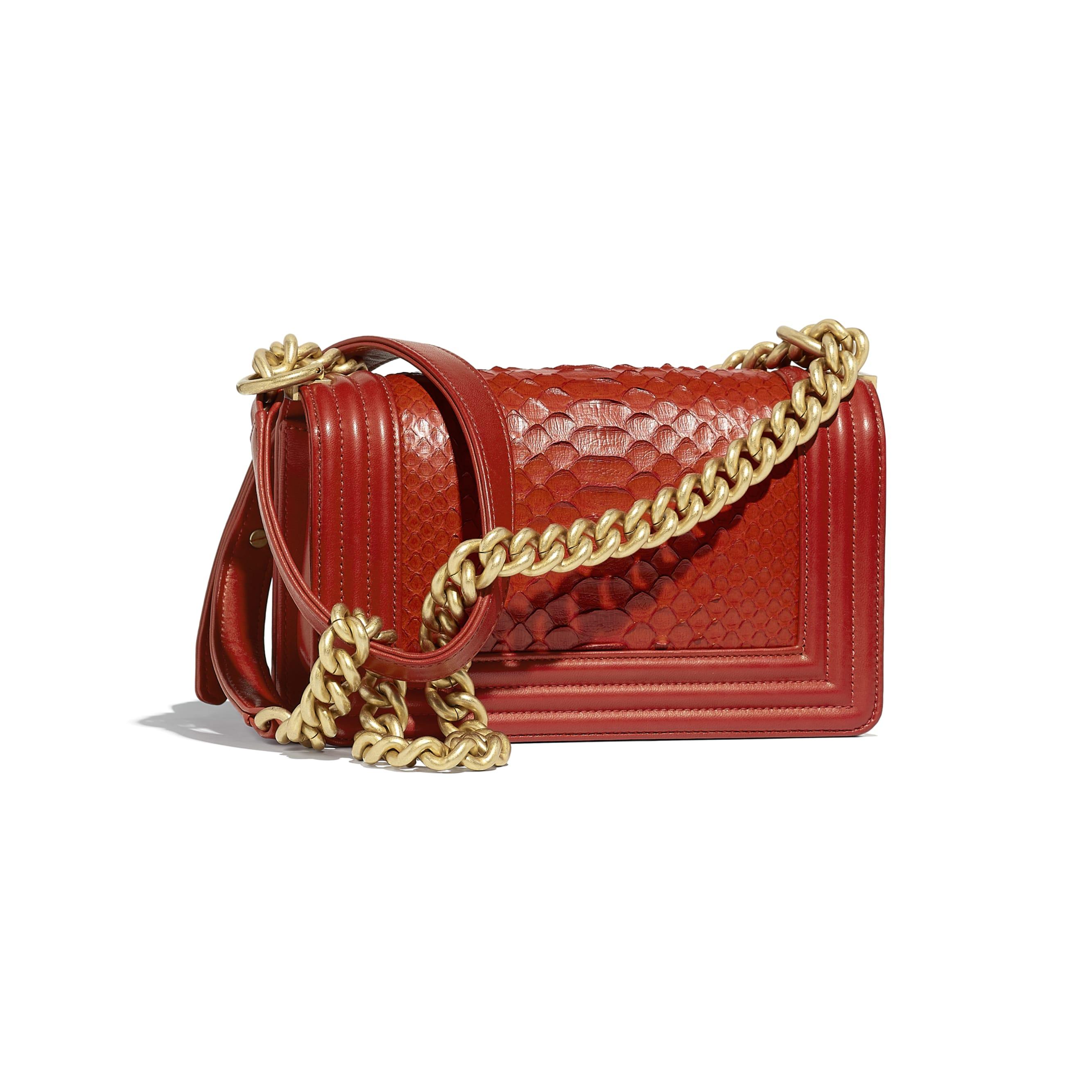 Small BOY CHANEL Handbag - Red - Python, Calfskin & Gold-Tone Metal - Alternative view - see standard sized version