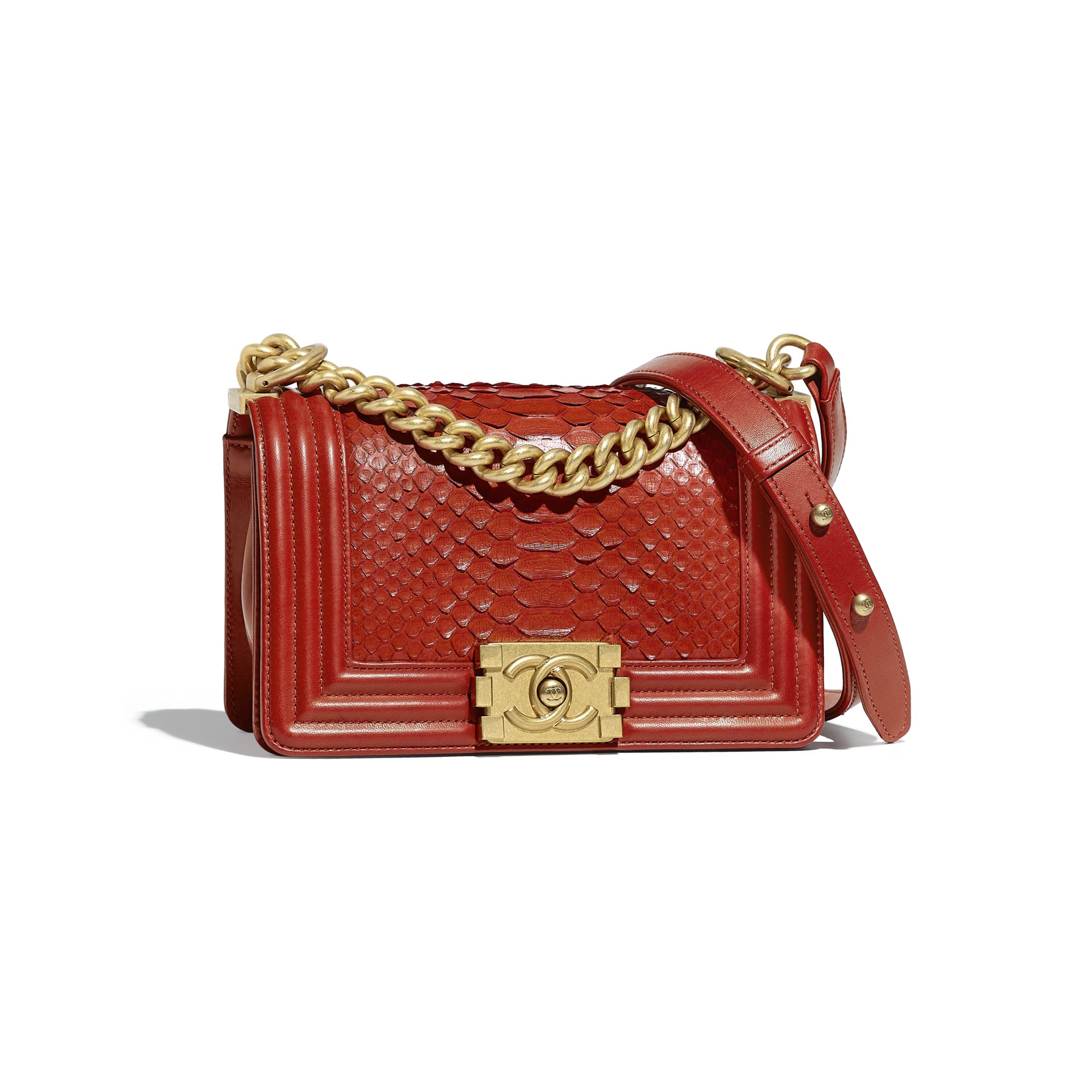 Small BOY CHANEL Handbag - Red - Python, Calfskin & Gold-Tone Metal - Default view - see standard sized version