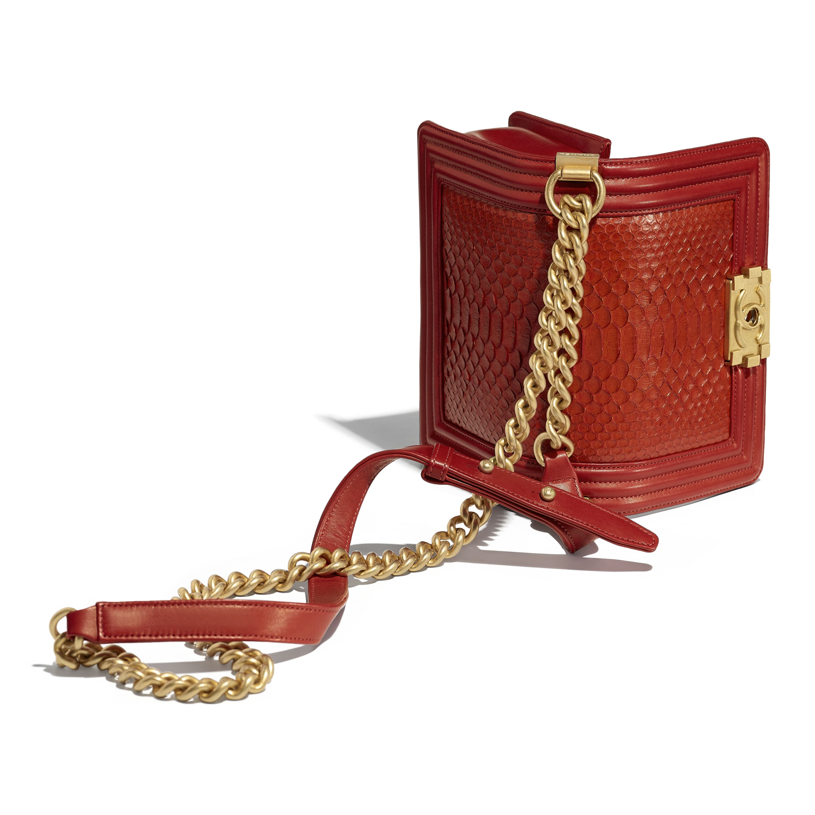 Small BOY CHANEL Handbag - Red - Python, Calfskin & Gold-Tone Metal - Other view - see standard sized version