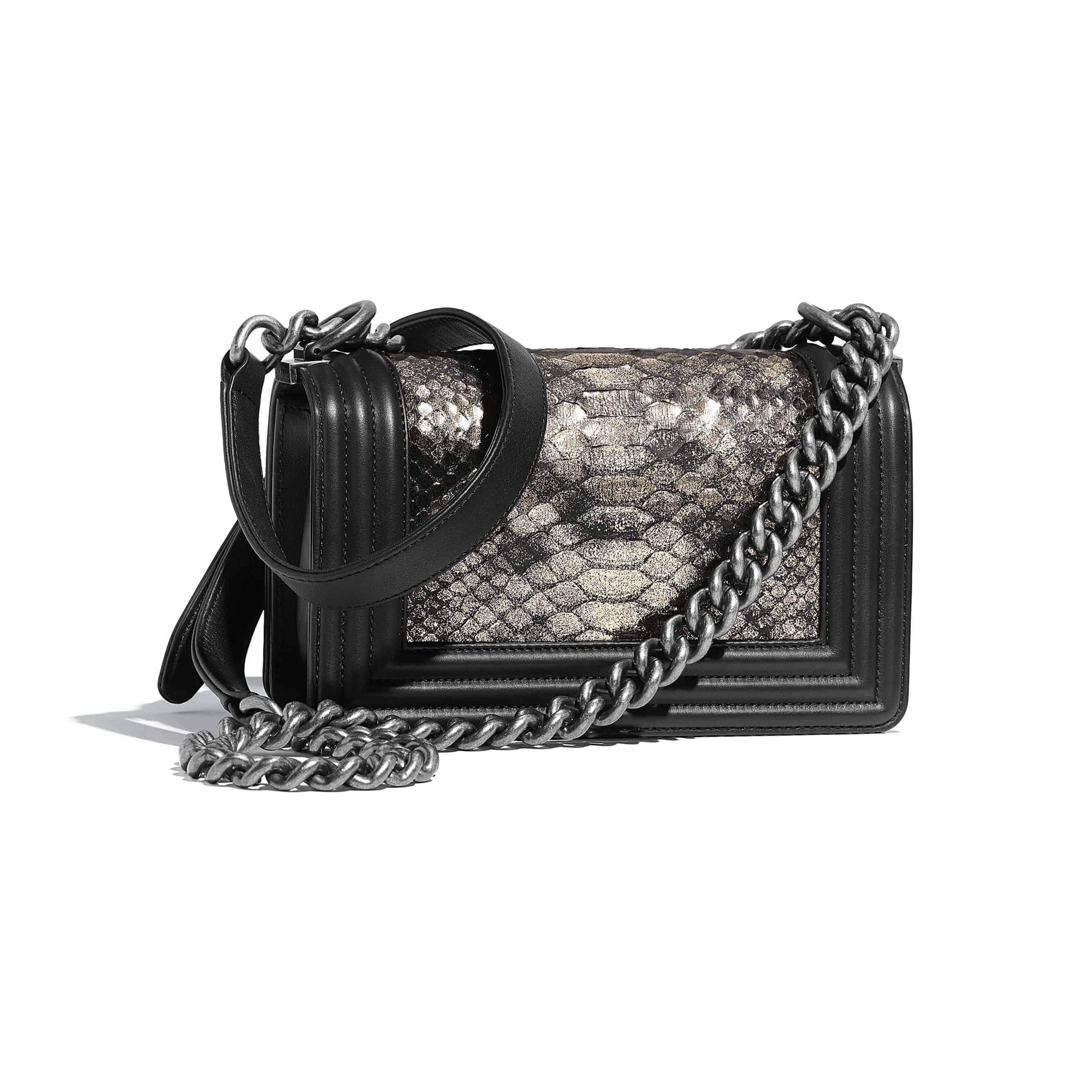 Small BOY CHANEL Handbag - Silver & Black - python, calfskin & ruthenium-finish metal - Alternative view - see standard sized version