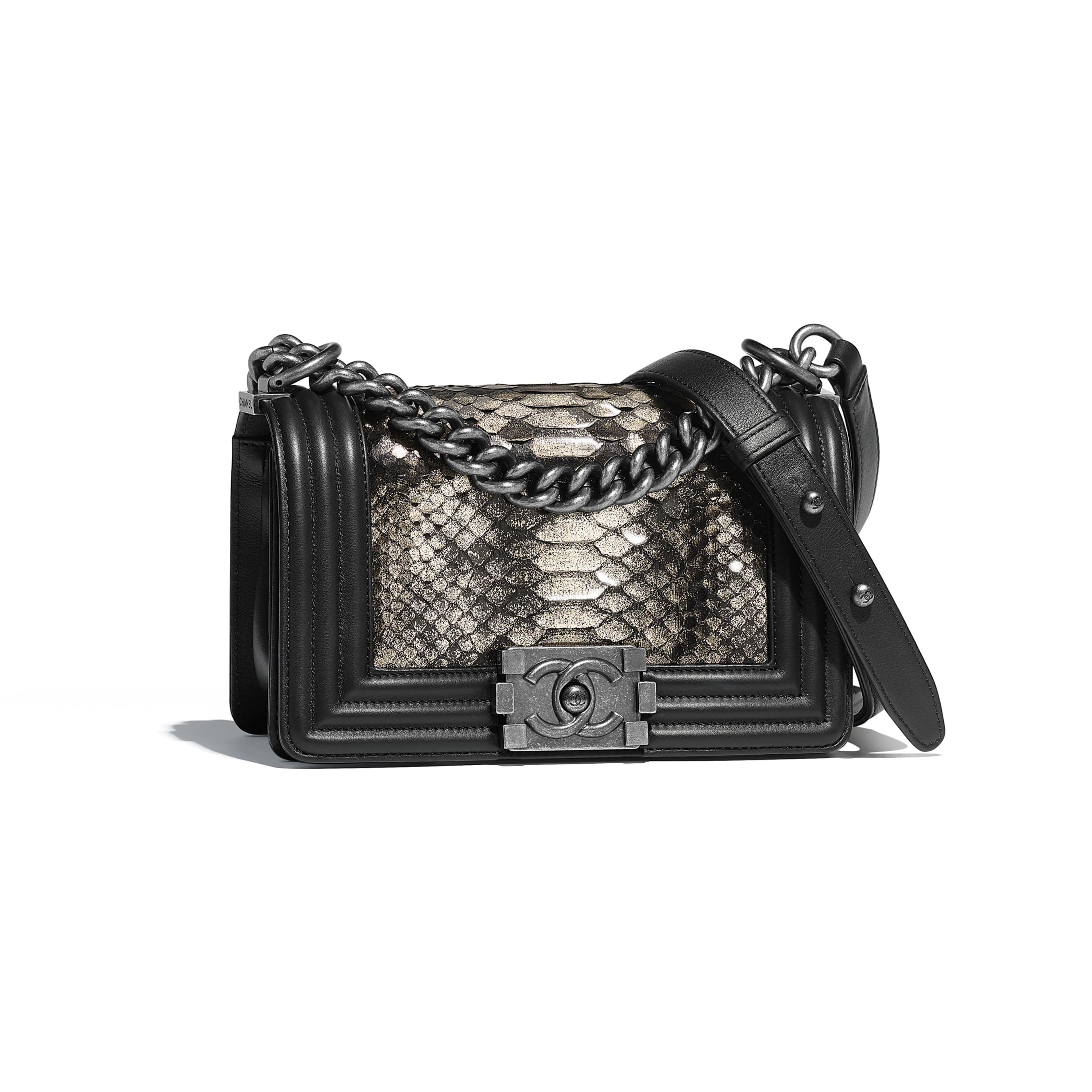 Small BOY CHANEL Handbag - Silver & Black - python, calfskin & ruthenium-finish metal - Default view - see standard sized version