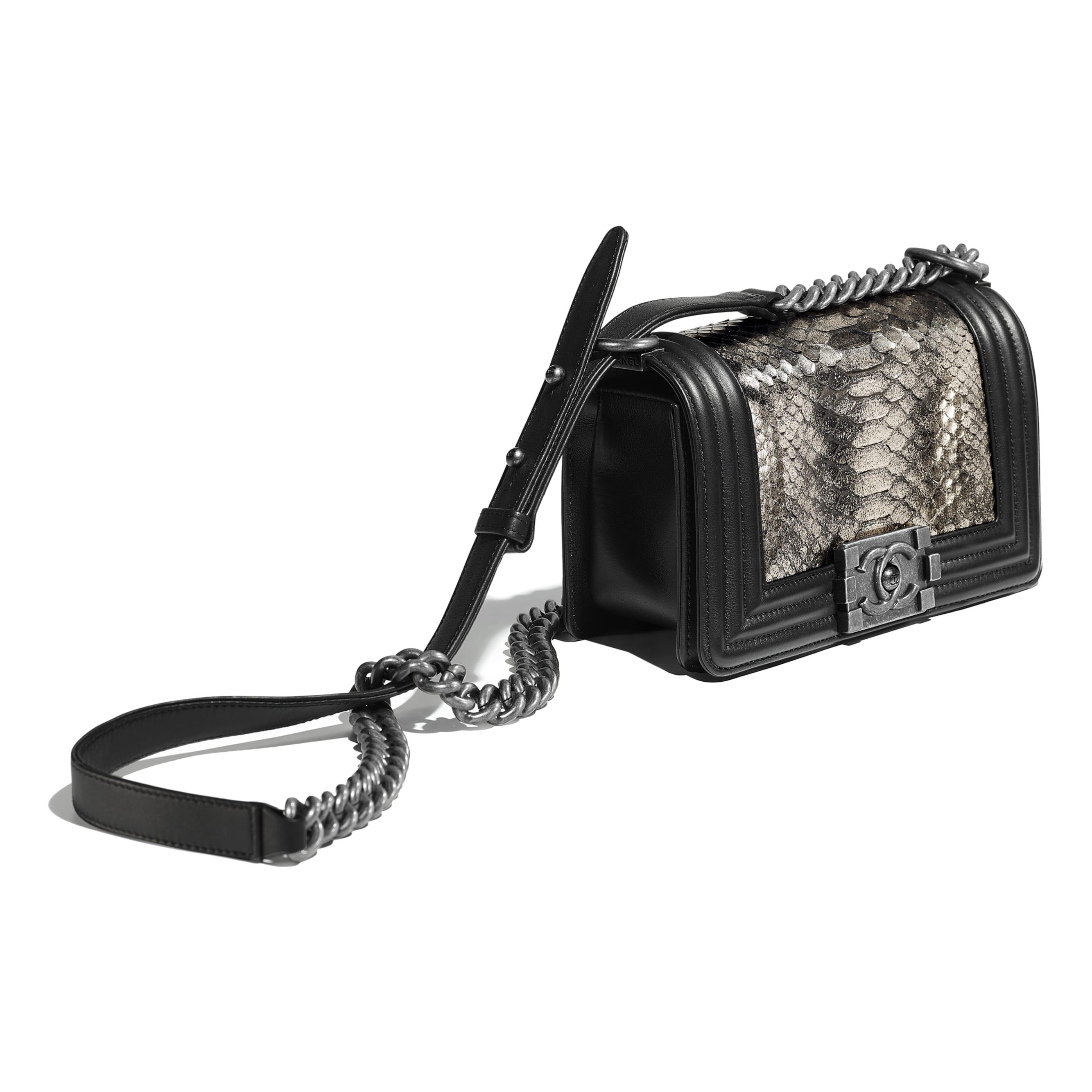 Small BOY CHANEL Handbag - Silver & Black - python, calfskin & ruthenium-finish metal - Other view - see standard sized version