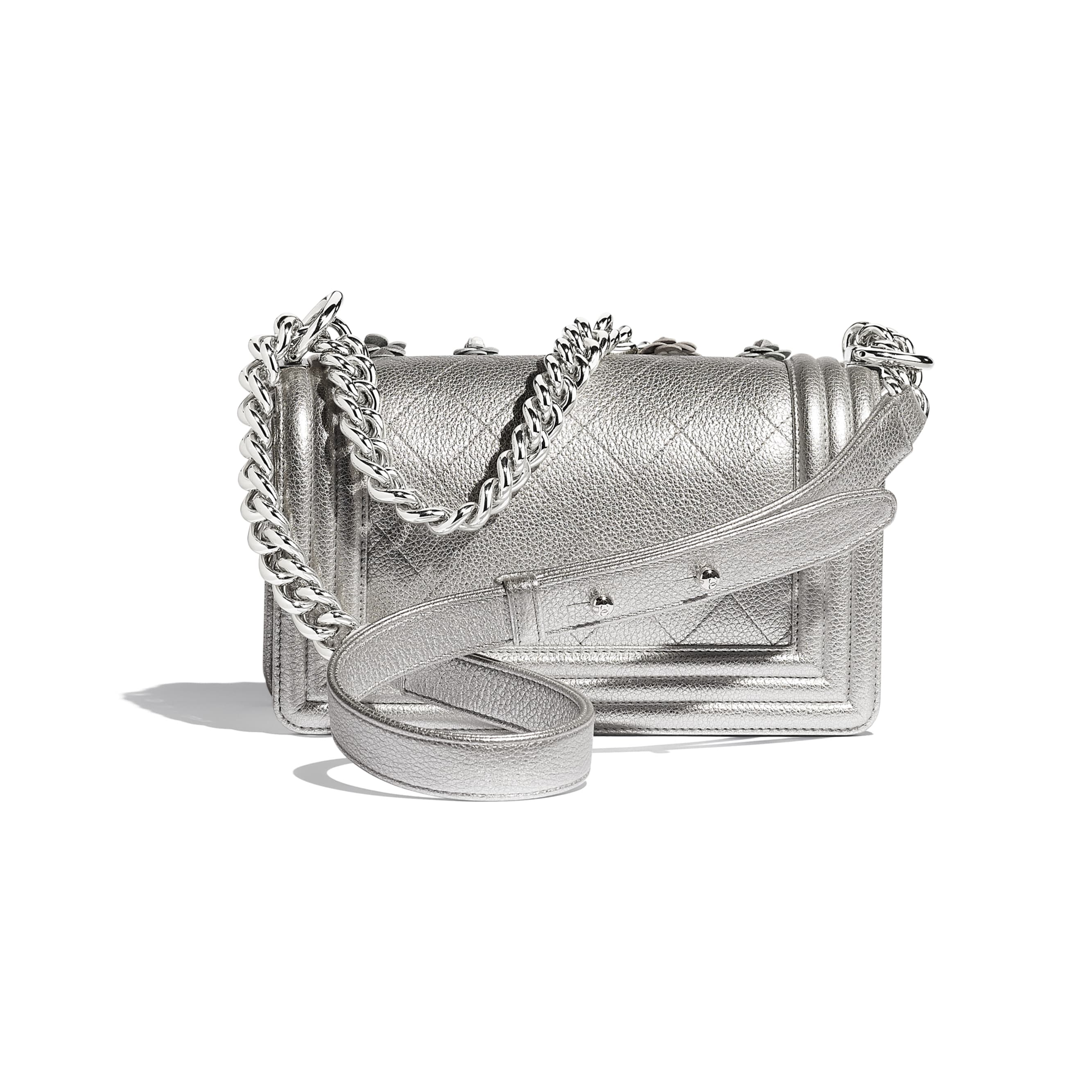 Small BOY CHANEL Handbag - Silver - Embroidered Metallic Grained Calfskin & Silver-Tone Metal - Alternative view - see standard sized version