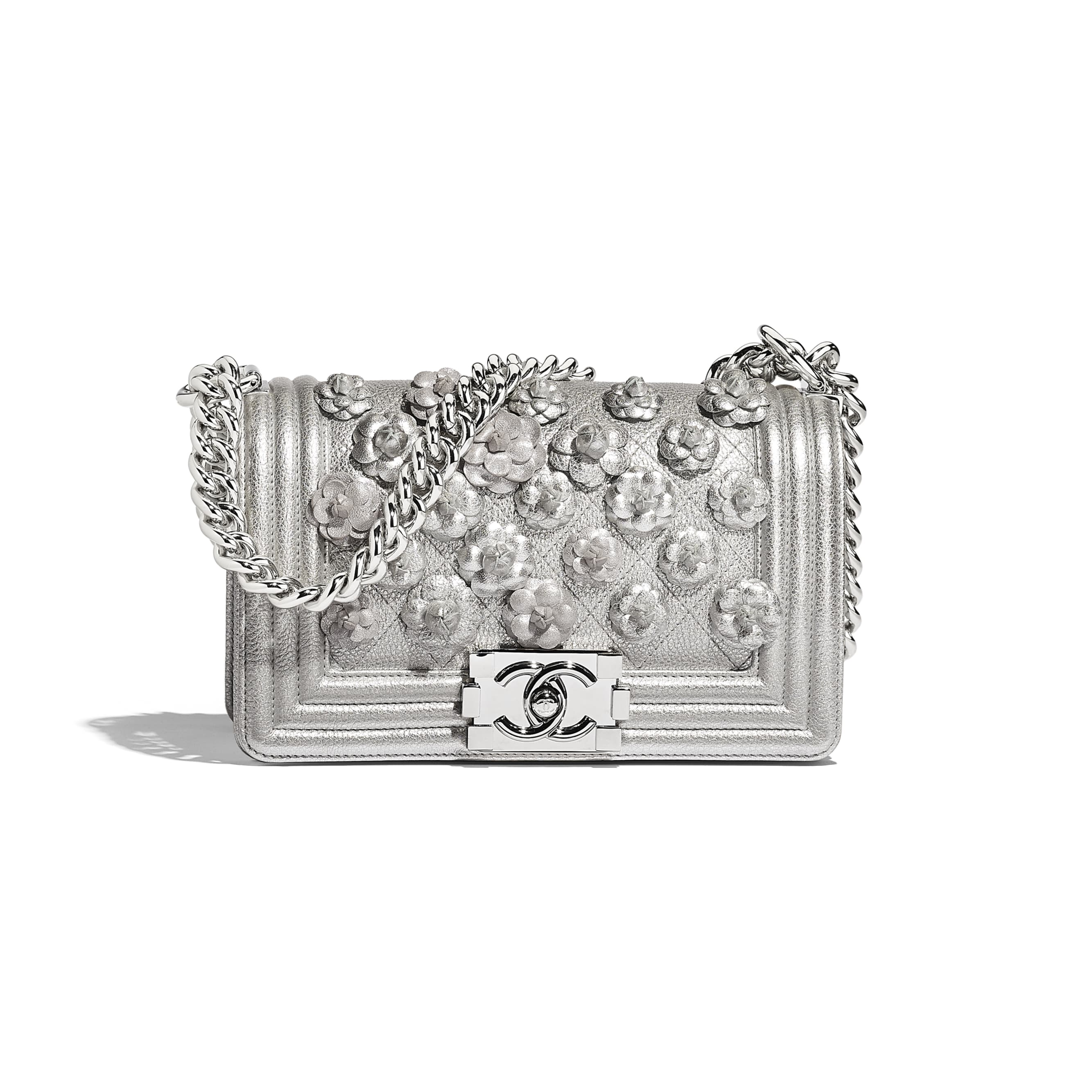 Small BOY CHANEL Handbag - Silver - Embroidered Metallic Grained Calfskin & Silver-Tone Metal - Default view - see standard sized version