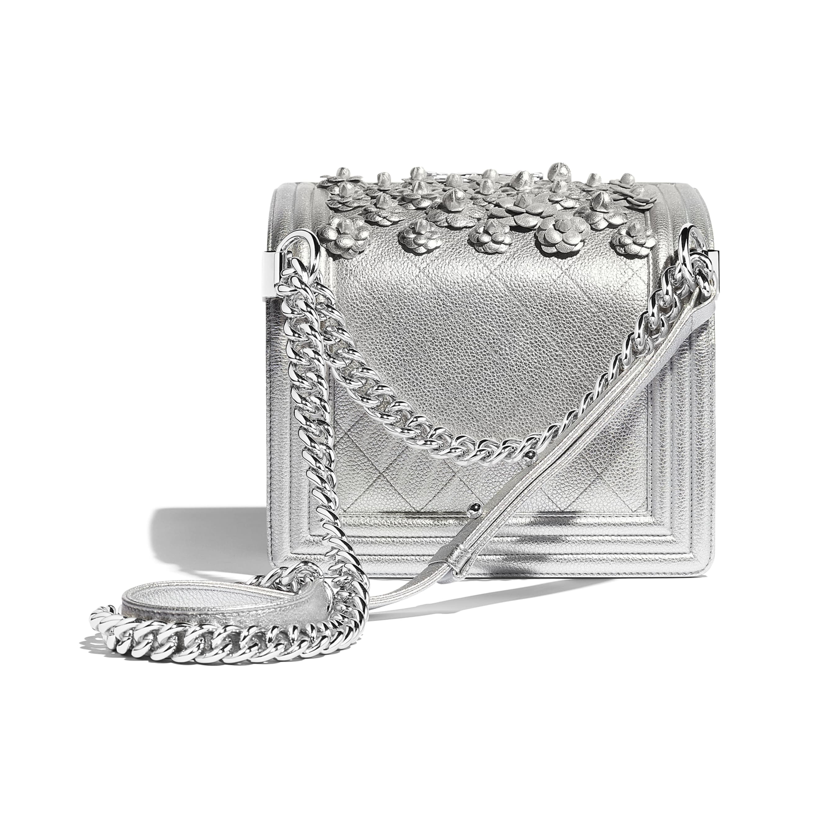 Small BOY CHANEL Handbag - Silver - Embroidered Metallic Grained Calfskin & Silver-Tone Metal - Other view - see standard sized version