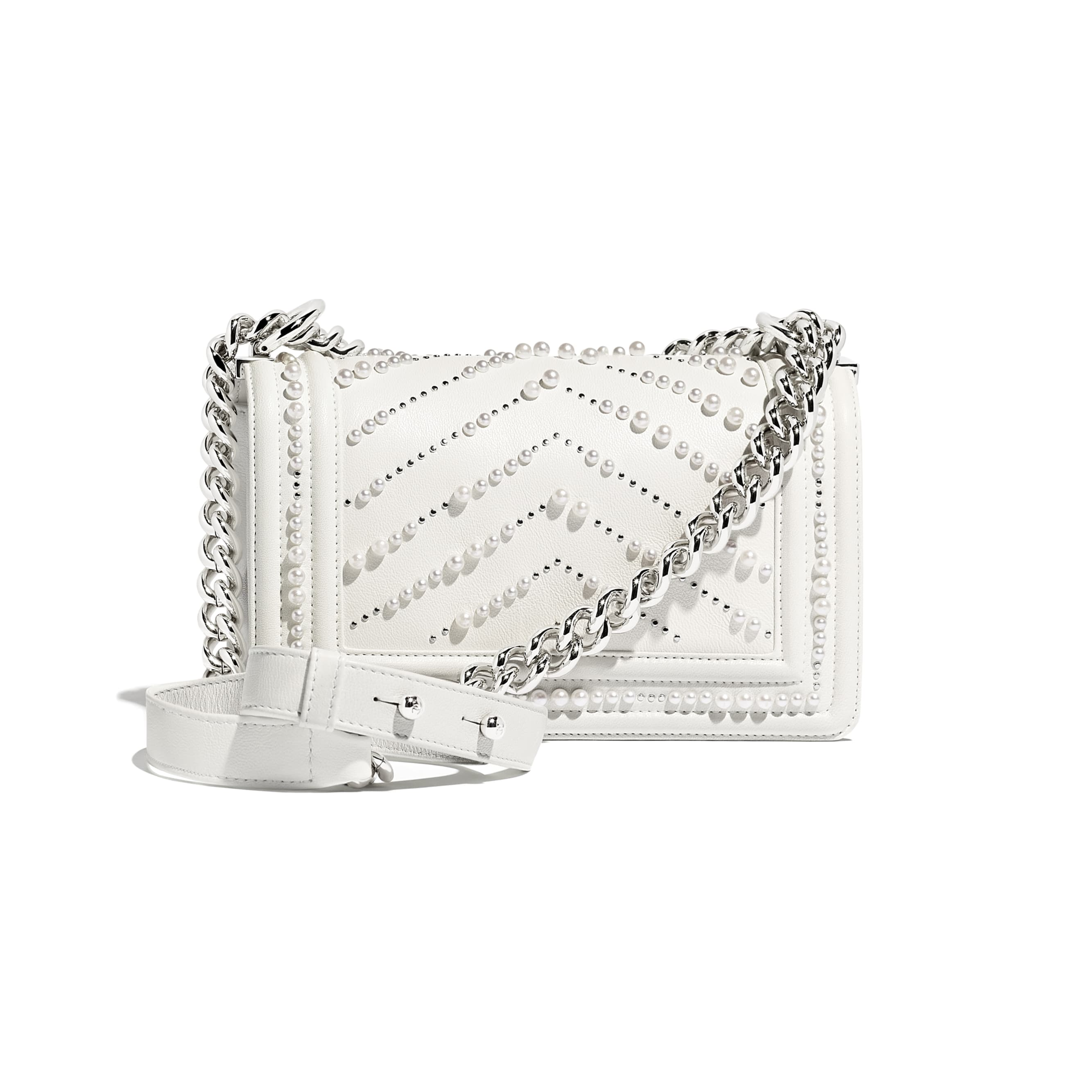 Small BOY CHANEL Handbag - White - Calfskin, Imitation Pearls & Silver-Tone Metal - Alternative view - see standard sized version