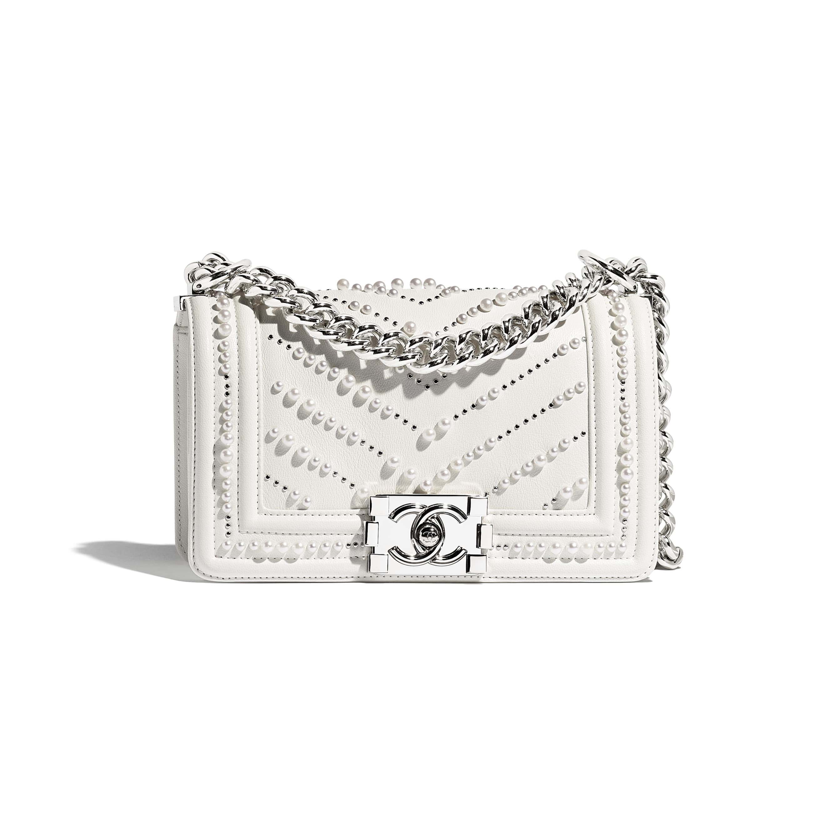 Small BOY CHANEL Handbag - White - Calfskin, Imitation Pearls & Silver-Tone Metal - Default view - see standard sized version