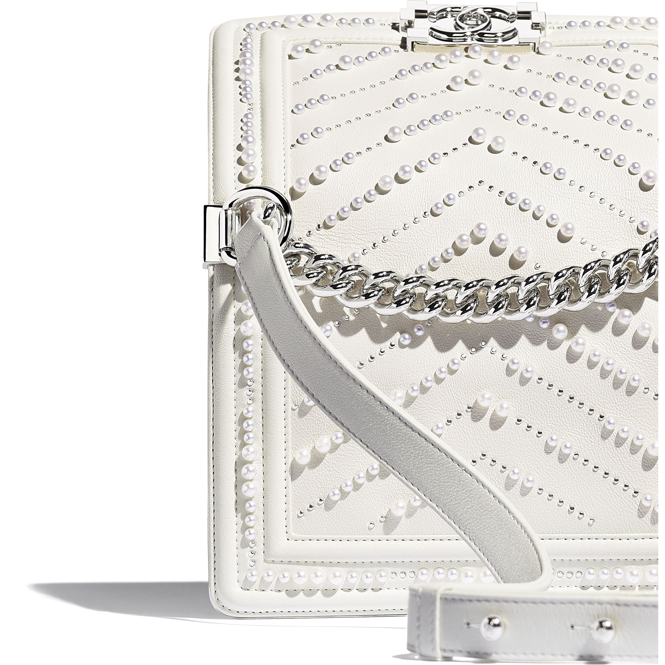 Small BOY CHANEL Handbag - White - Calfskin, Imitation Pearls & Silver-Tone Metal - Extra view - see standard sized version