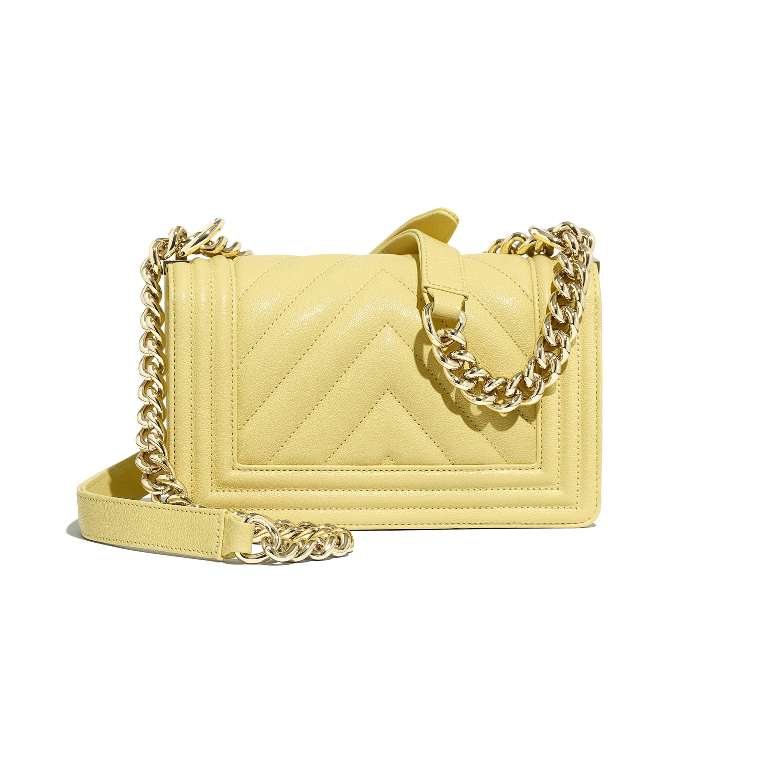 Small BOY CHANEL Handbag - Yellow - Grained Calfskin & Gold-Tone Metal - Alternative view - see standard sized version