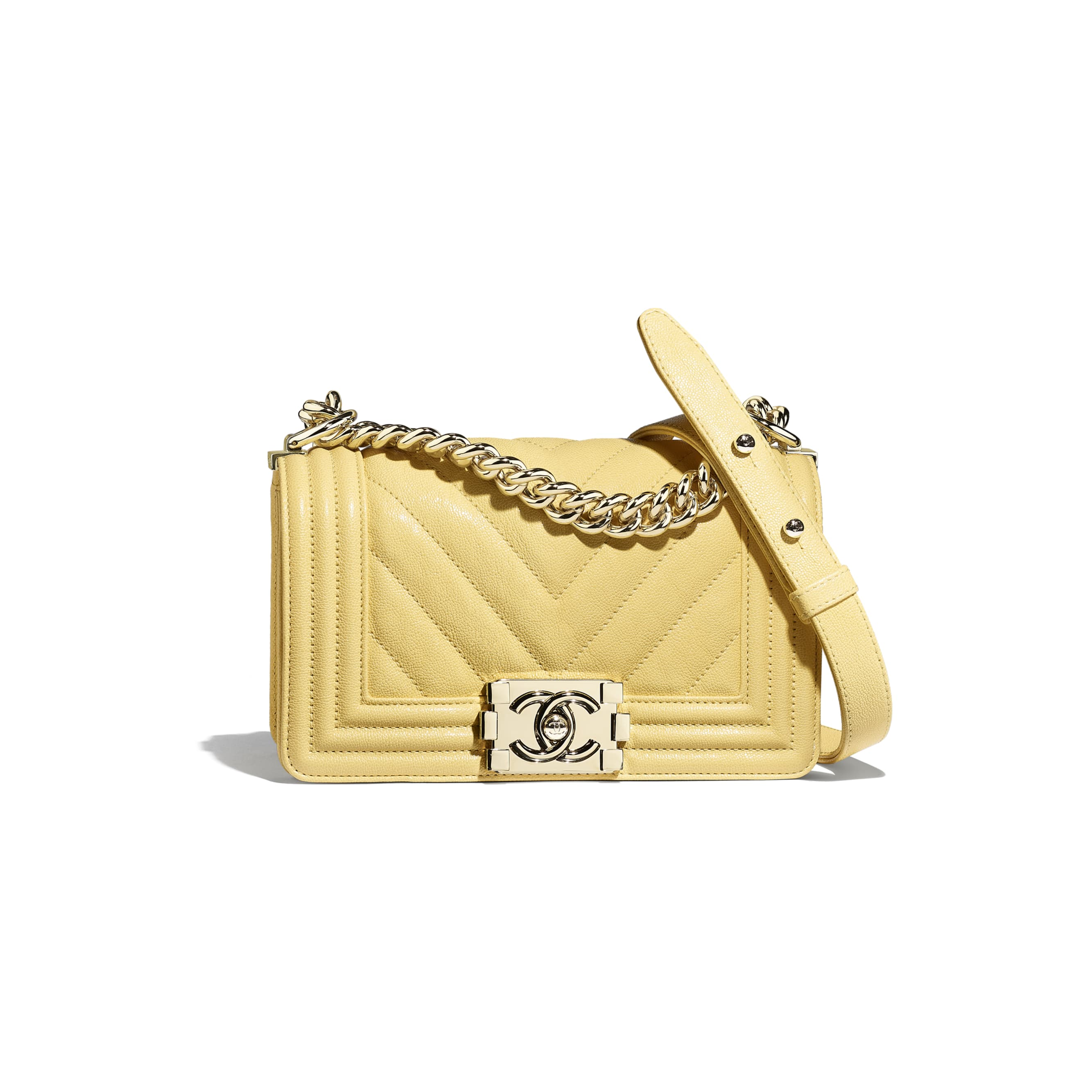 Small BOY CHANEL Handbag - Yellow - Grained Calfskin & Gold-Tone Metal - Default view - see standard sized version