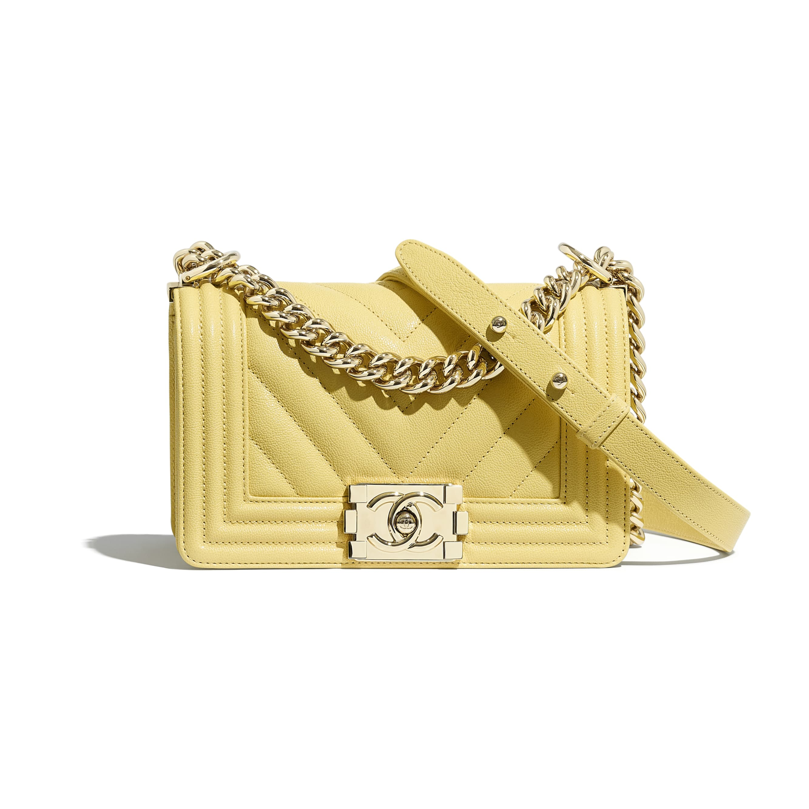 Small BOY CHANEL Handbag - Yellow - Grained Calfskin & Gold-Tone Metal - CHANEL - Default view - see standard sized version